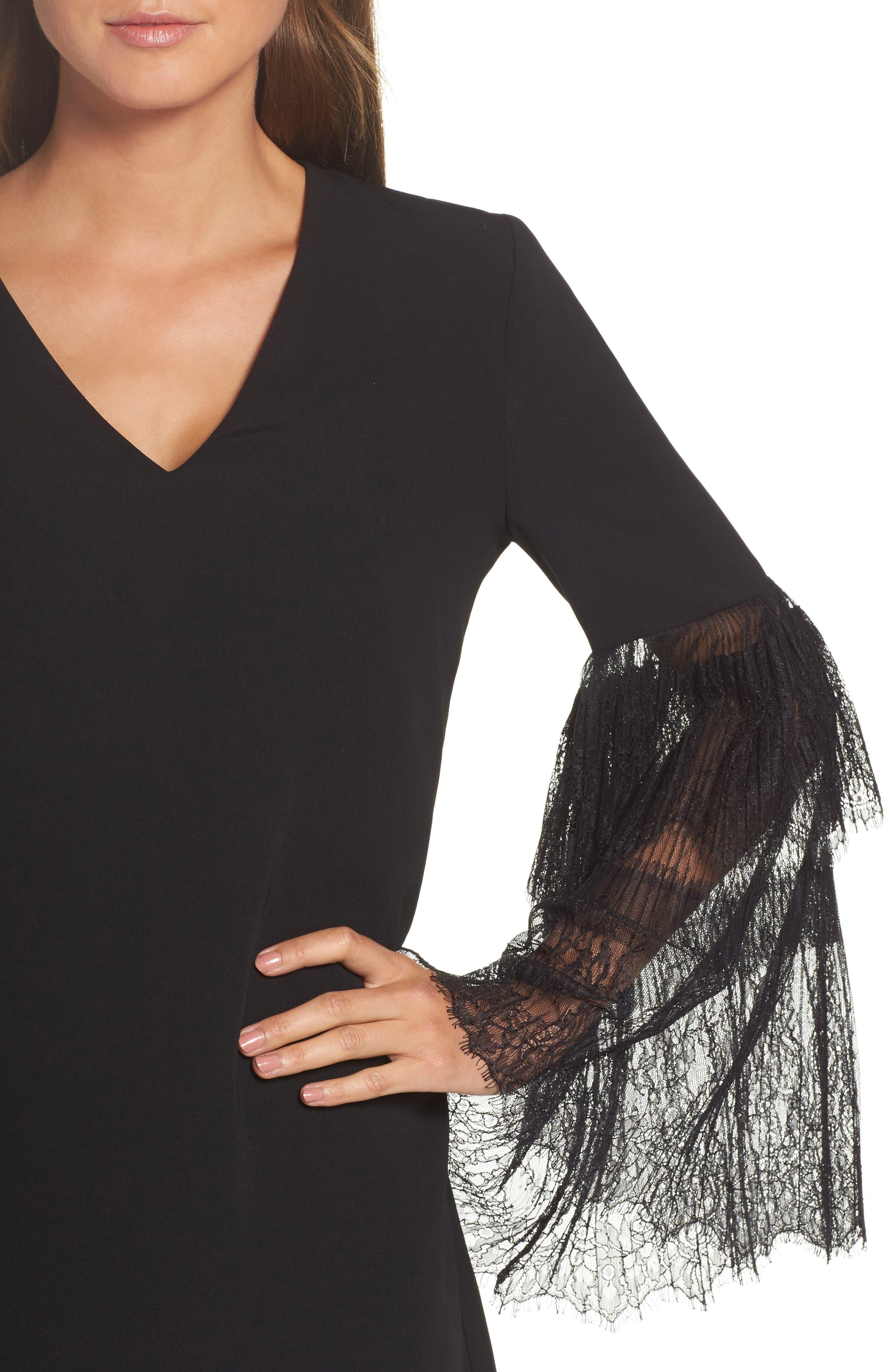Suki Lace Sleeve Shift Dress,                             Alternate thumbnail 4, color,                             Black