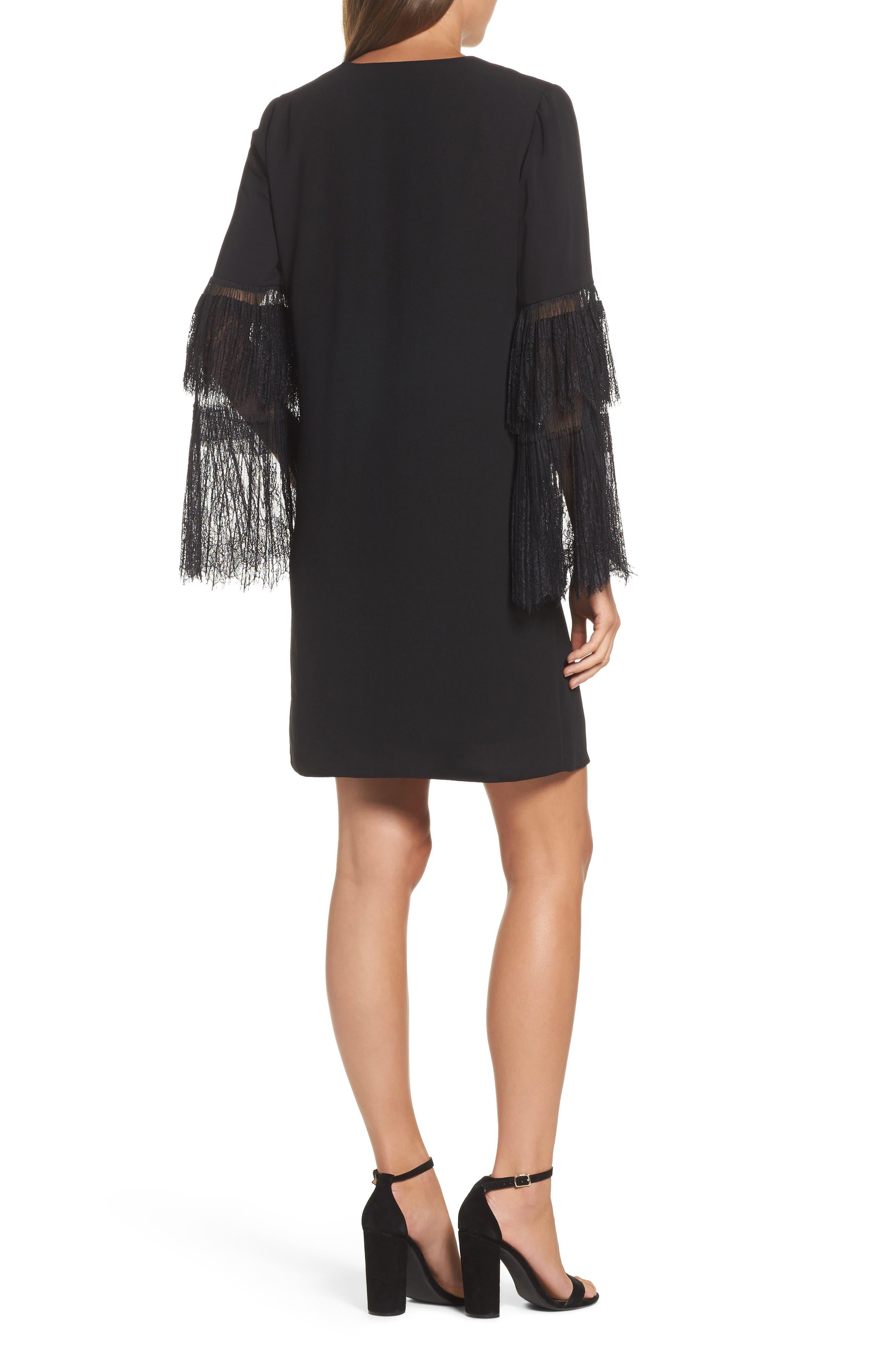 Suki Lace Sleeve Shift Dress,                             Alternate thumbnail 2, color,                             Black