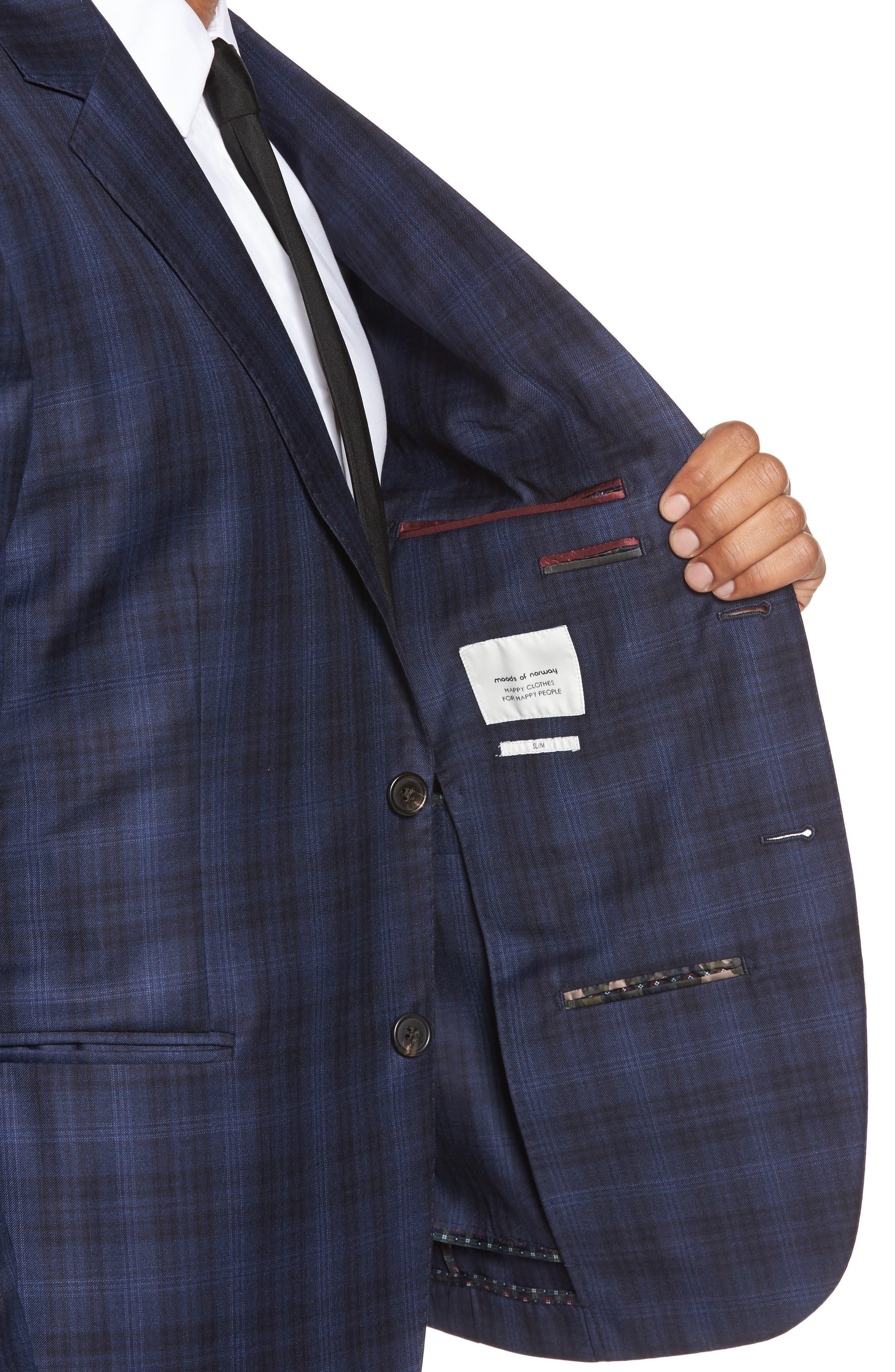 Midnatt Trim Fit Plaid Wool Sport Coat,                             Alternate thumbnail 4, color,                             Black Iris