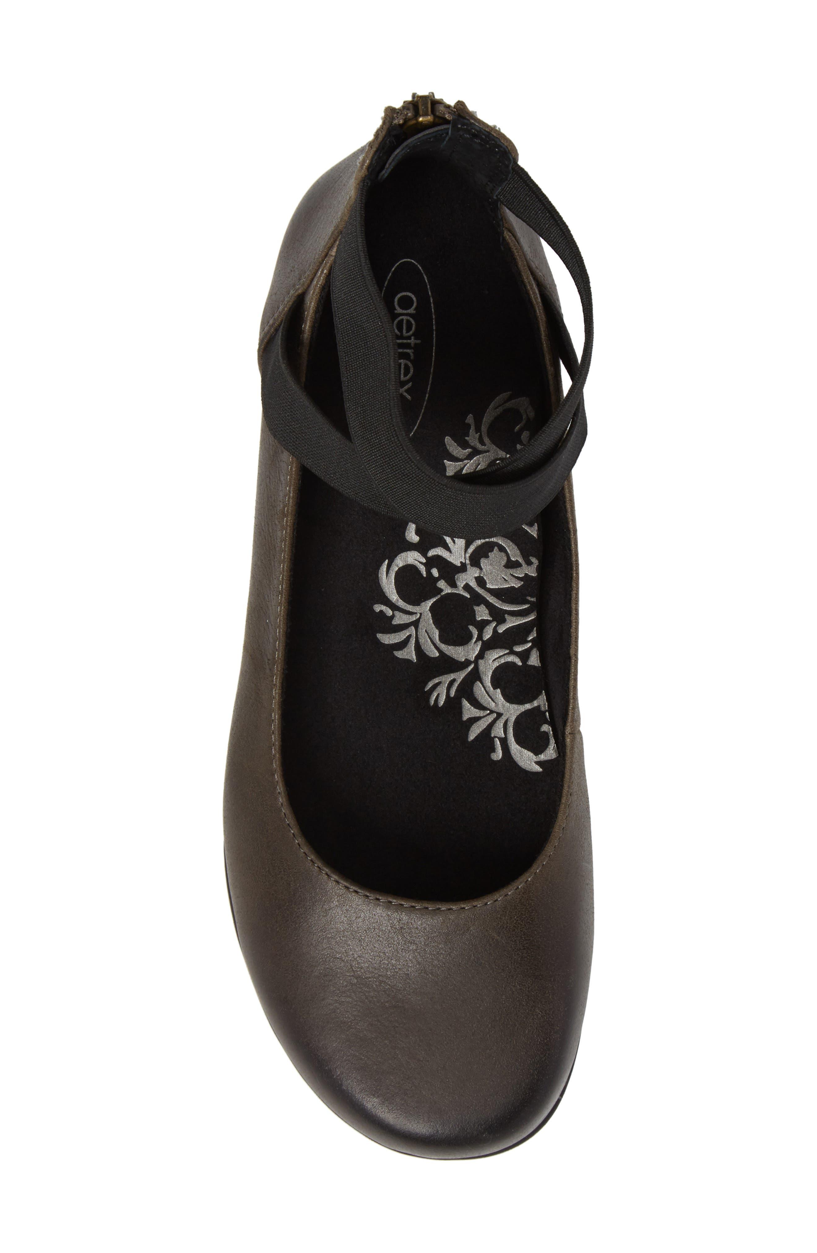 'Dakota' Ankle Strap Ballet Flat,                             Alternate thumbnail 5, color,                             Iron Leather