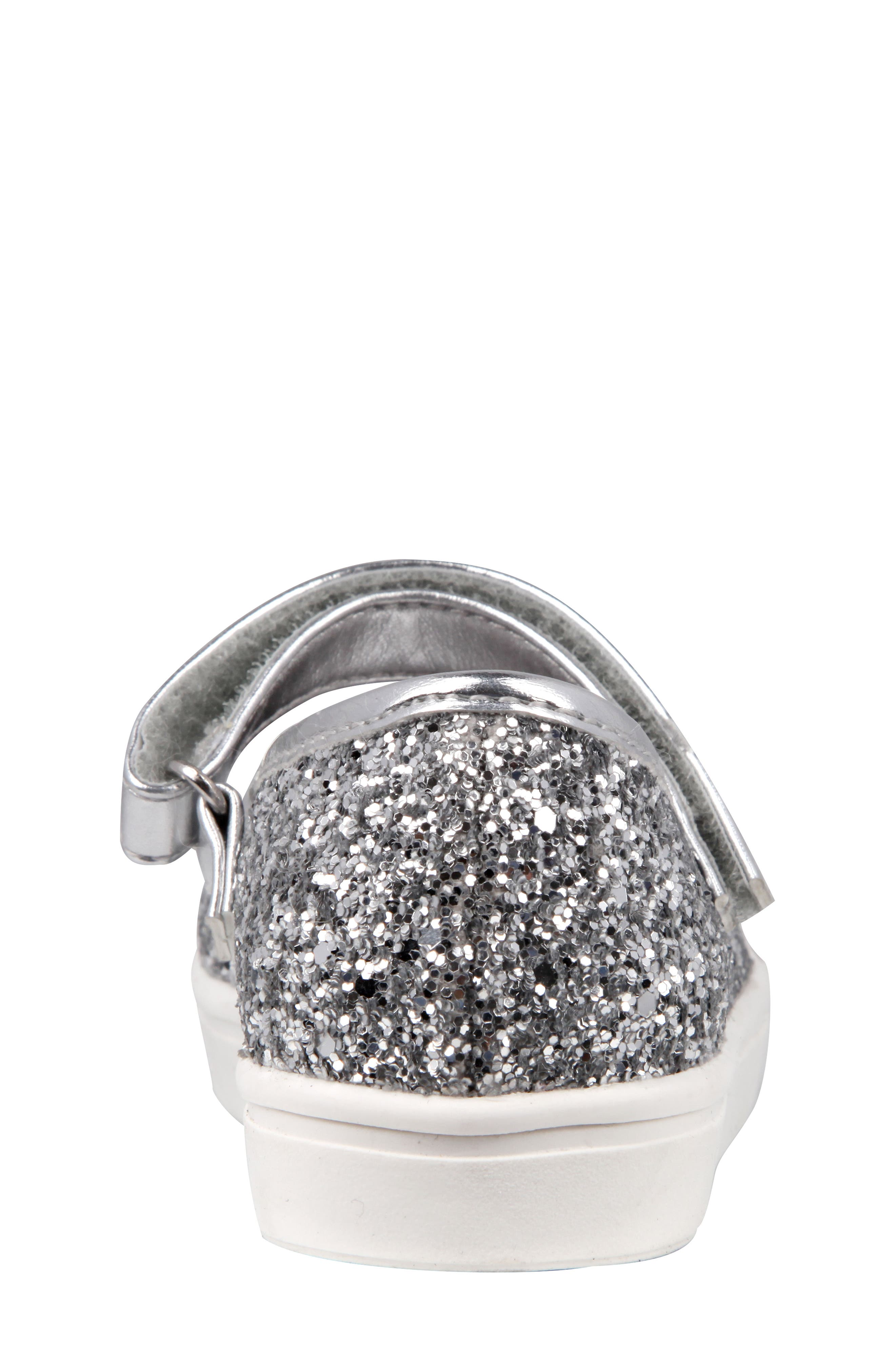 Ragina Faux Fur Glitter Mary Jane Sneaker,                             Alternate thumbnail 7, color,                             Silver Chunky Glitter
