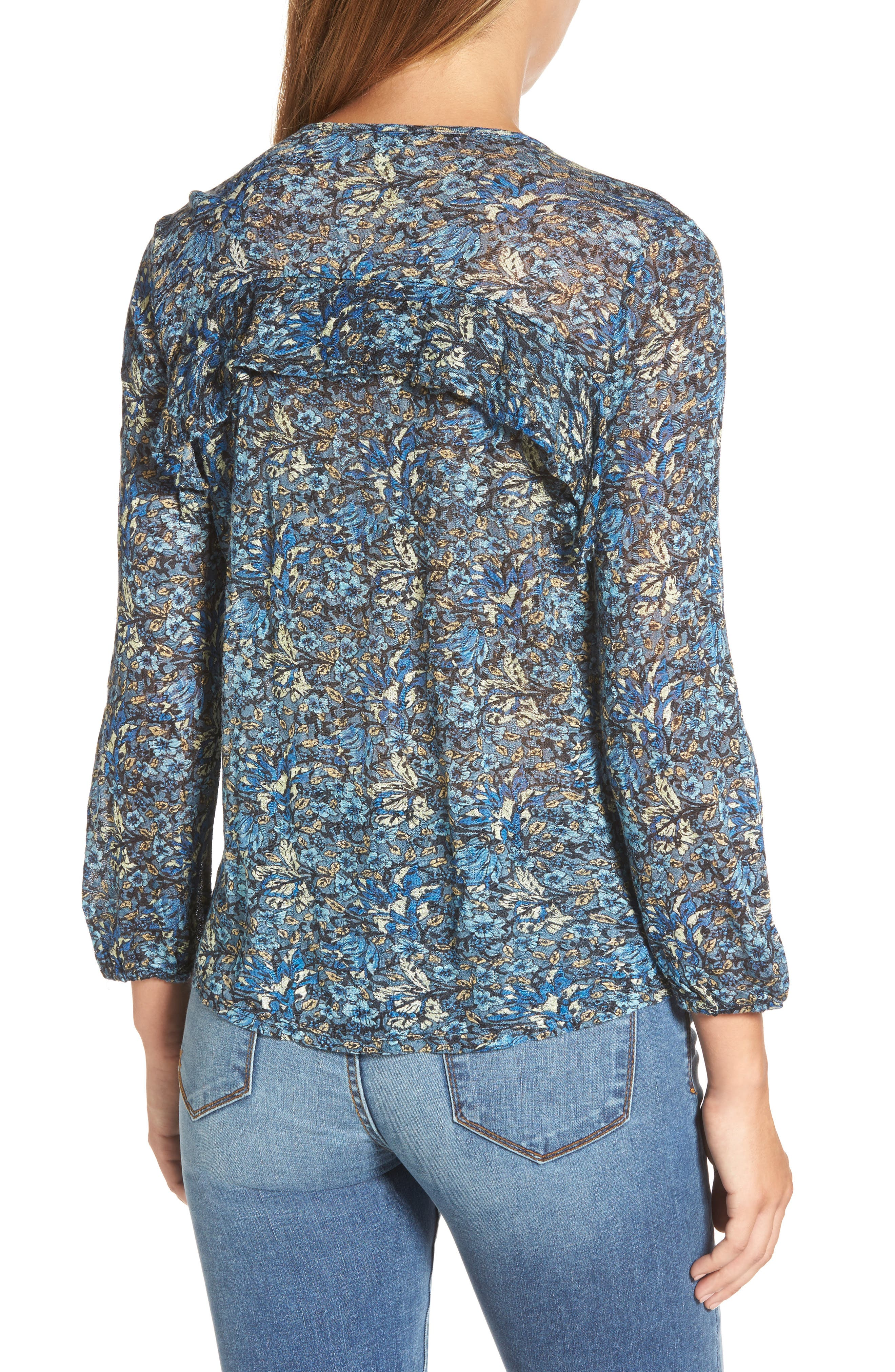 Alternate Image 2  - Lucky Brand Floral Ruffle Top