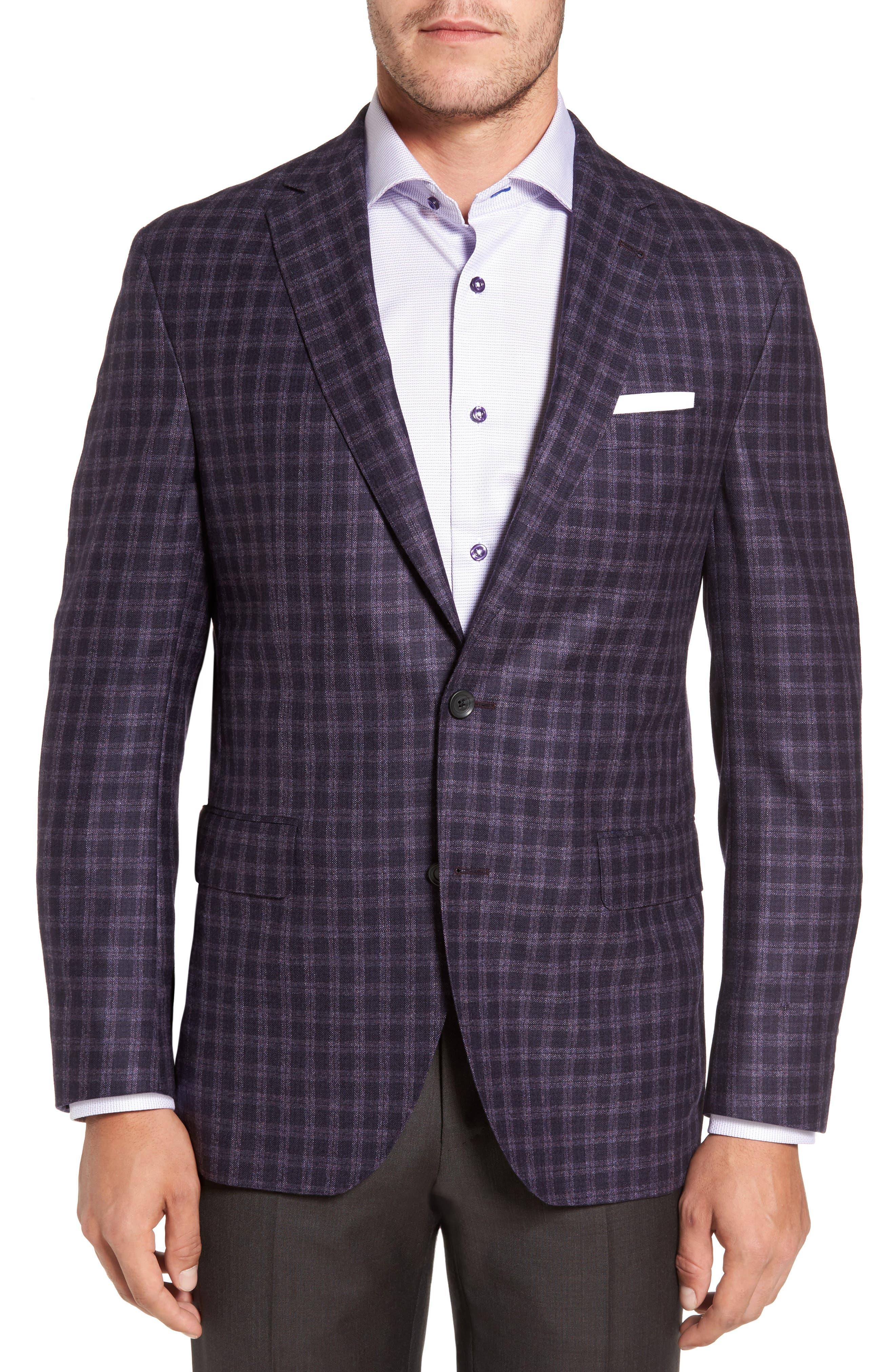 Ashton Classic Fit Check Wool Sport Coat,                         Main,                         color, Burgundy