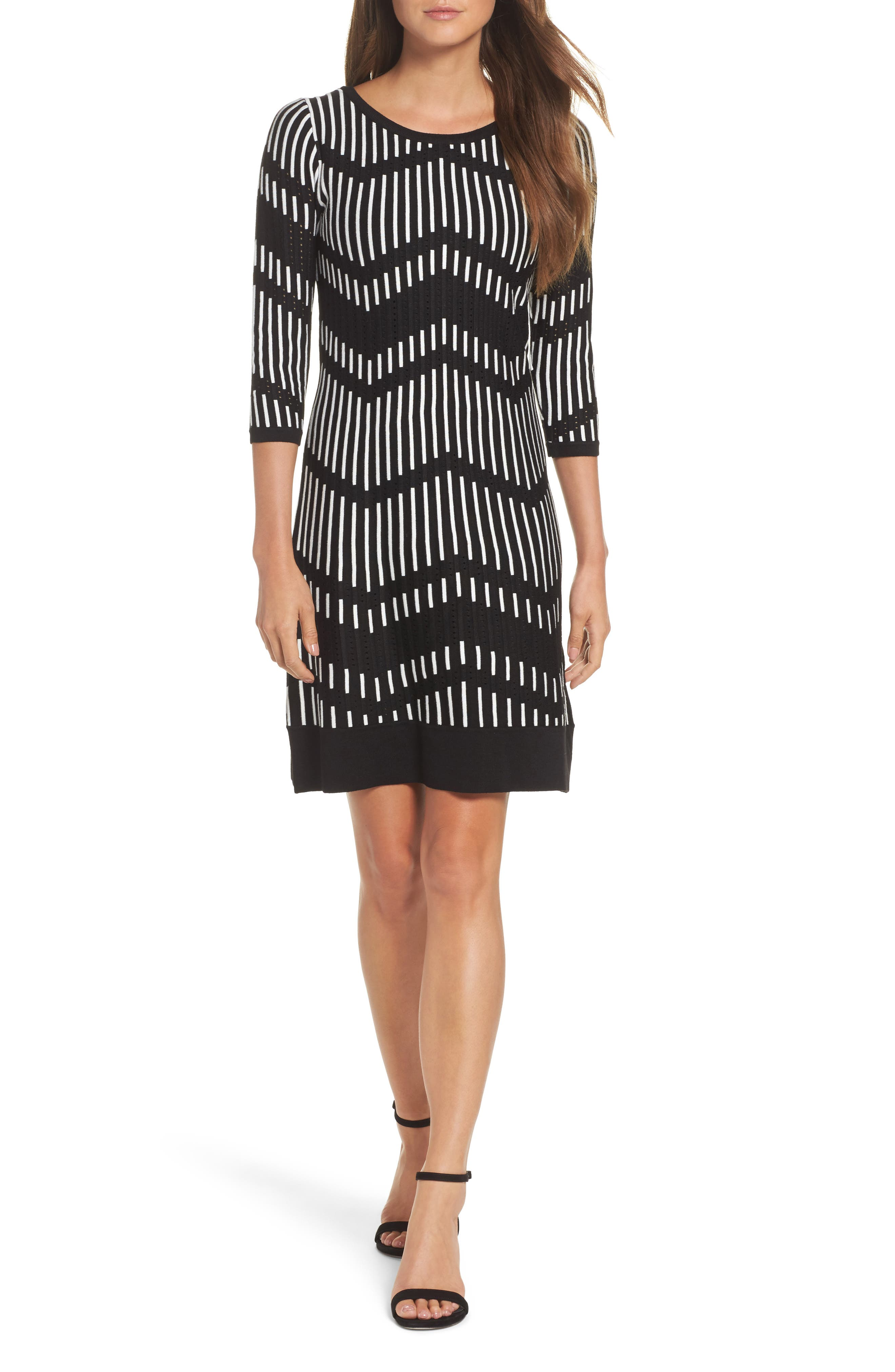 Alternate Image 1 Selected - Taylor Dresses Zig Zag Sweater Dress