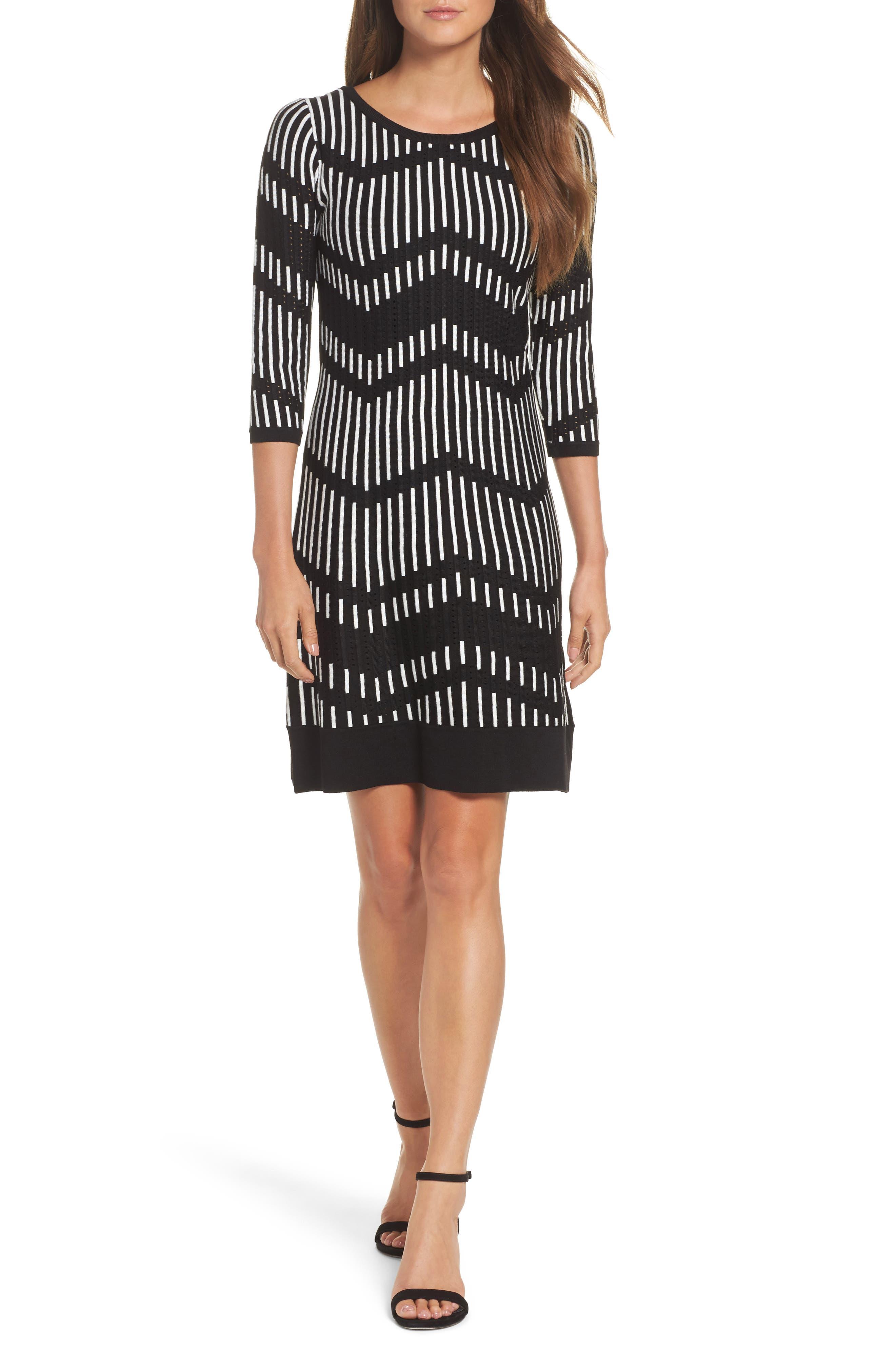 Zig Zag Sweater Dress,                         Main,                         color, Black Off White
