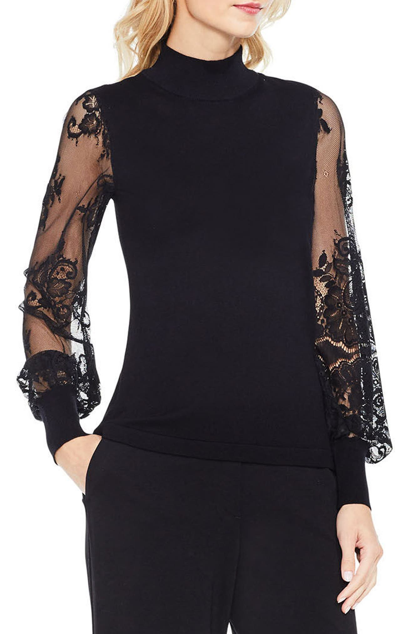 Vince Camuto Lace Sleeve Sweater (Regular & Petite)