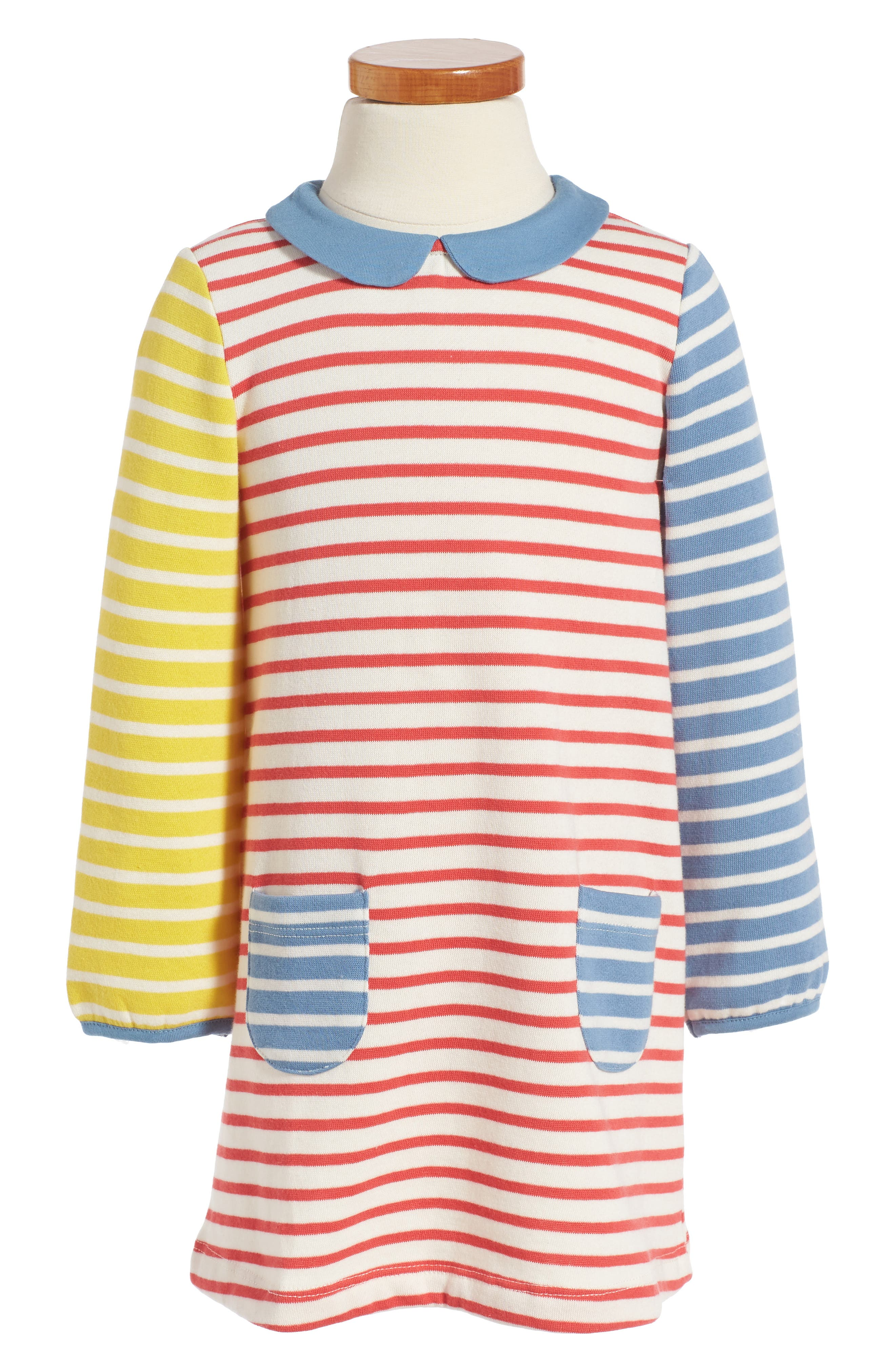 Main Image - Mini Boden Cosy Peter Pan Collar Sweatshirt Dress (Baby Girls & Toddler Girls)