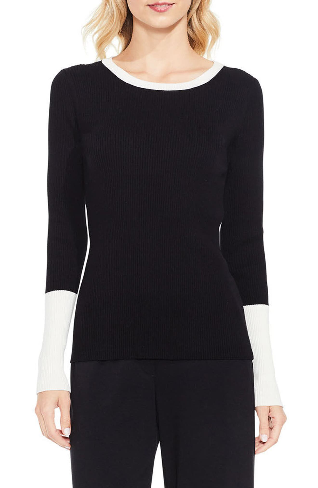 Colorblock Ribbed Sweater,                             Main thumbnail 1, color,                             Rich Black