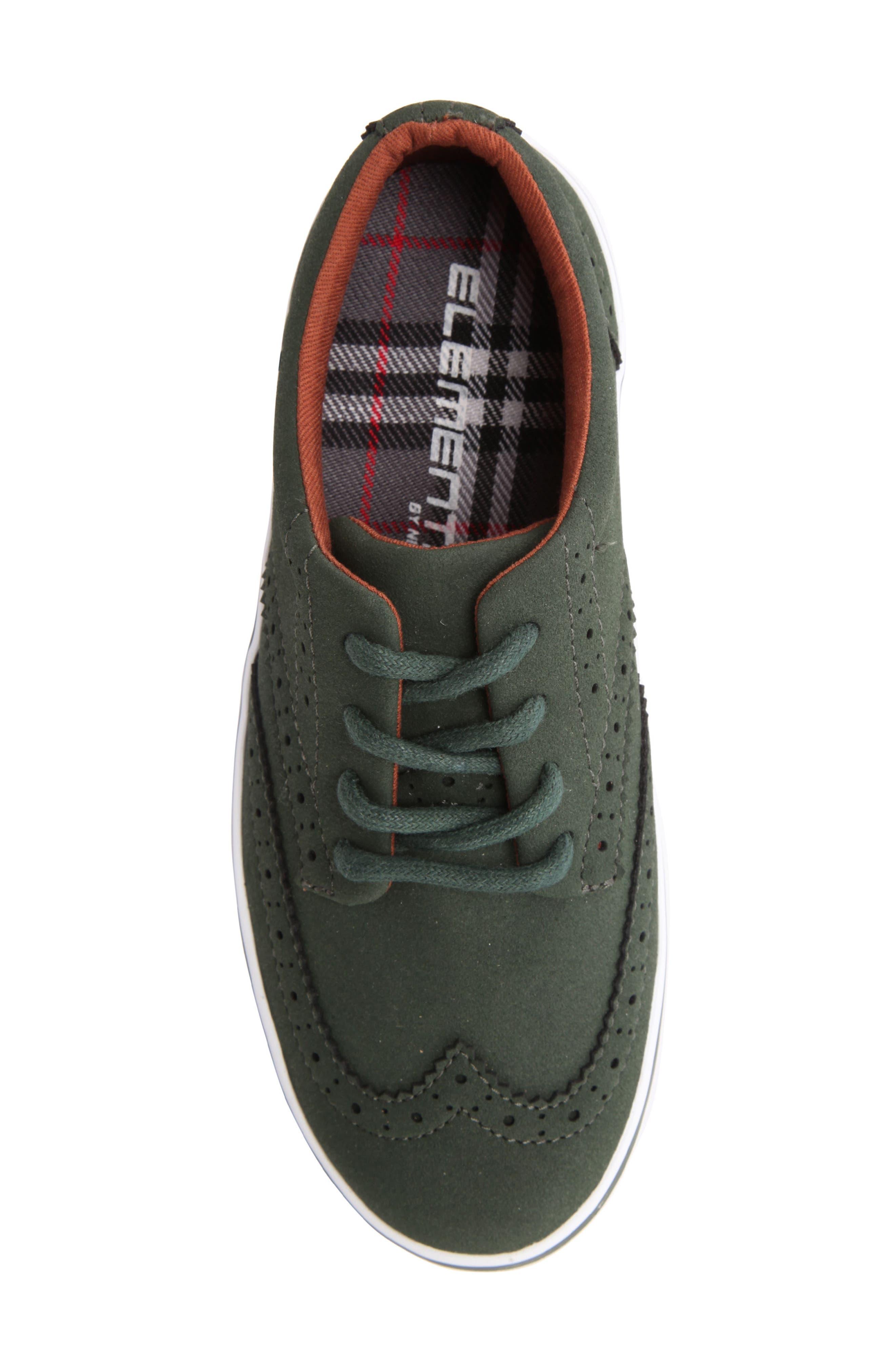 Wingtip Sneaker,                             Alternate thumbnail 5, color,                             Olive Faux Suede