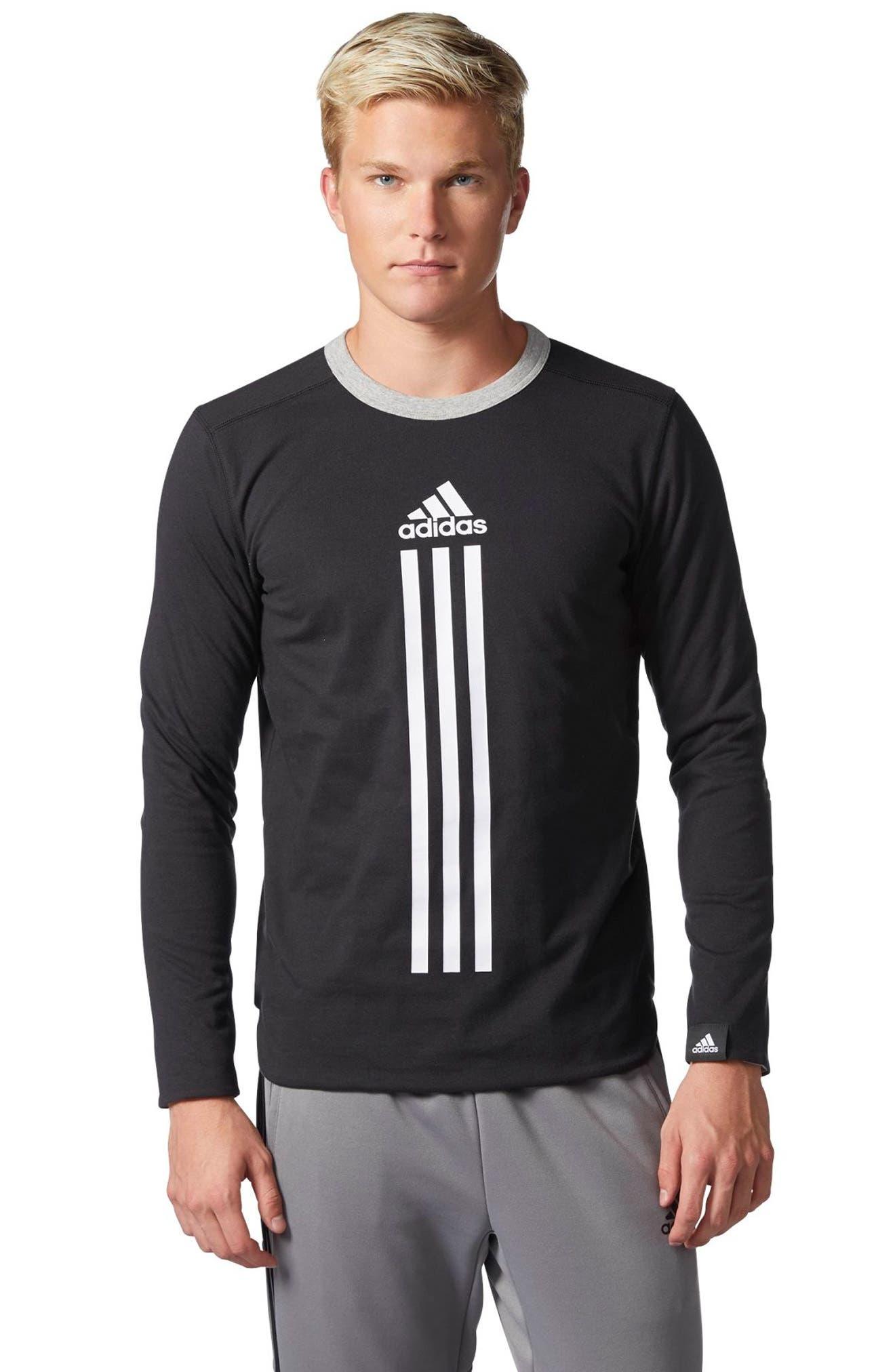 ID Long Sleeve Performance T-Shirt,                             Alternate thumbnail 4, color,                             Black/ Medium Grey Heather