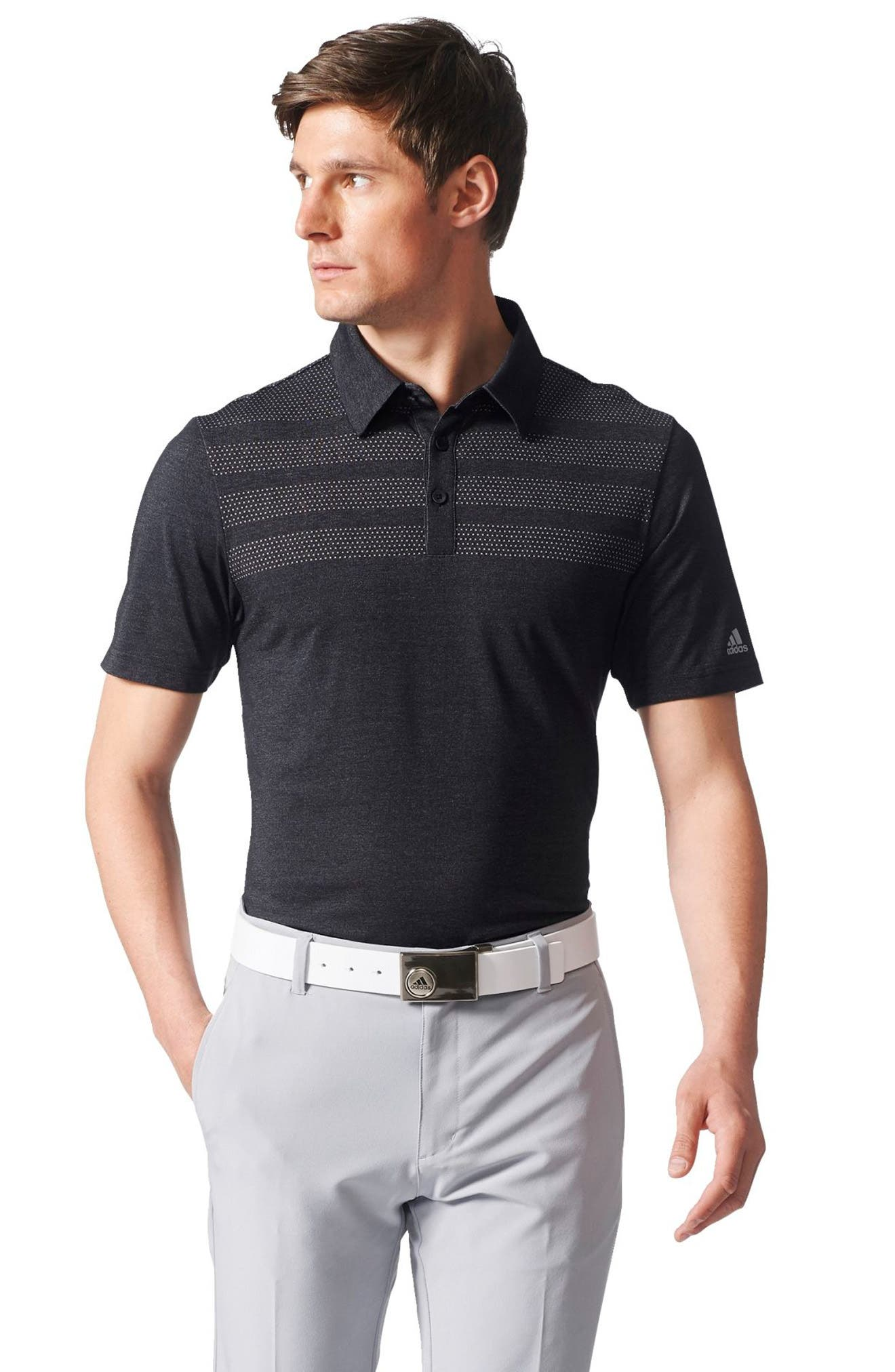 Climacool<sup>®</sup> 3-Stripes Mapped Polo,                             Alternate thumbnail 5, color,                             Black