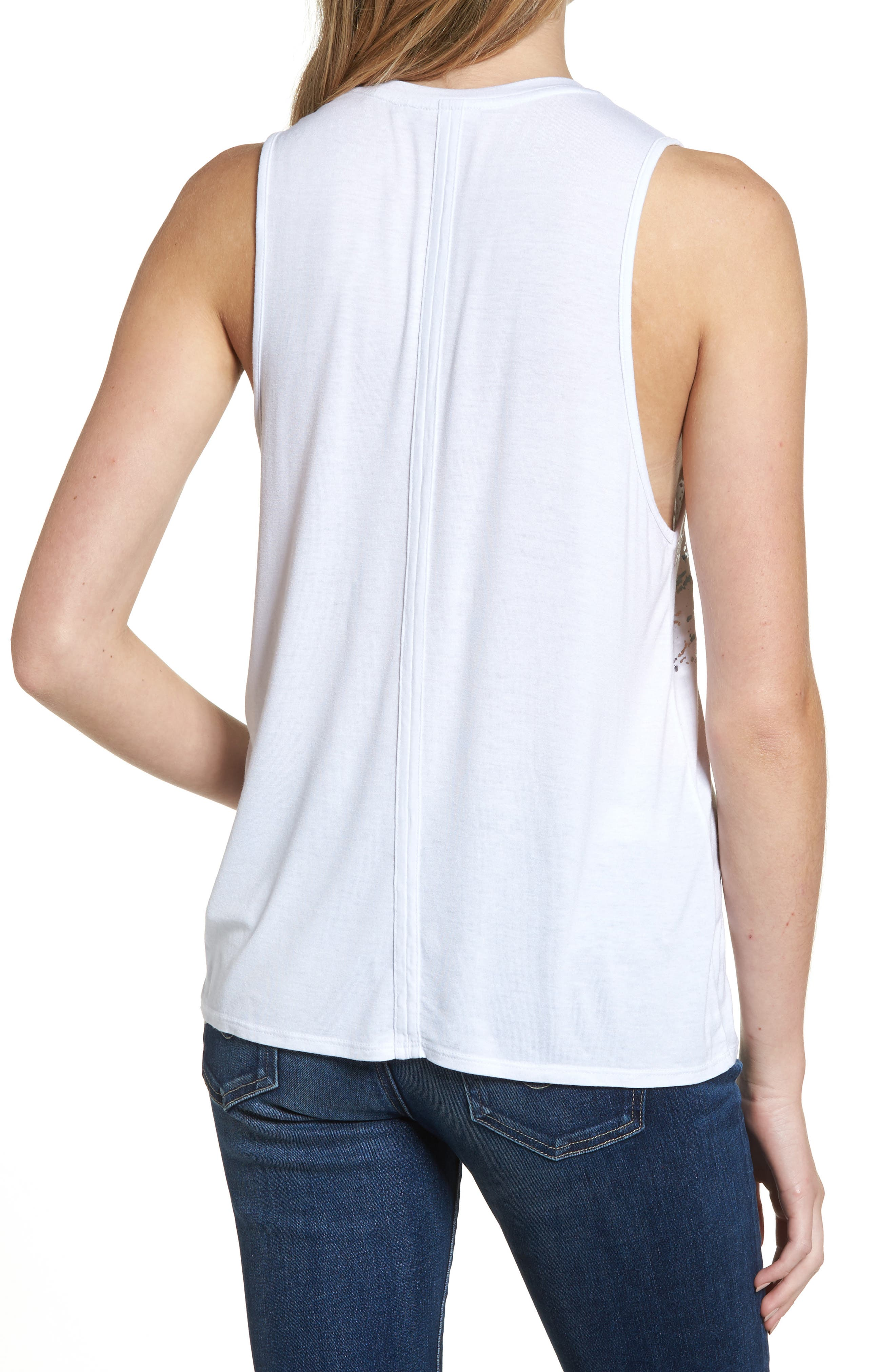 Clio Tank,                             Alternate thumbnail 2, color,                             Distressed Silver Foil/ White