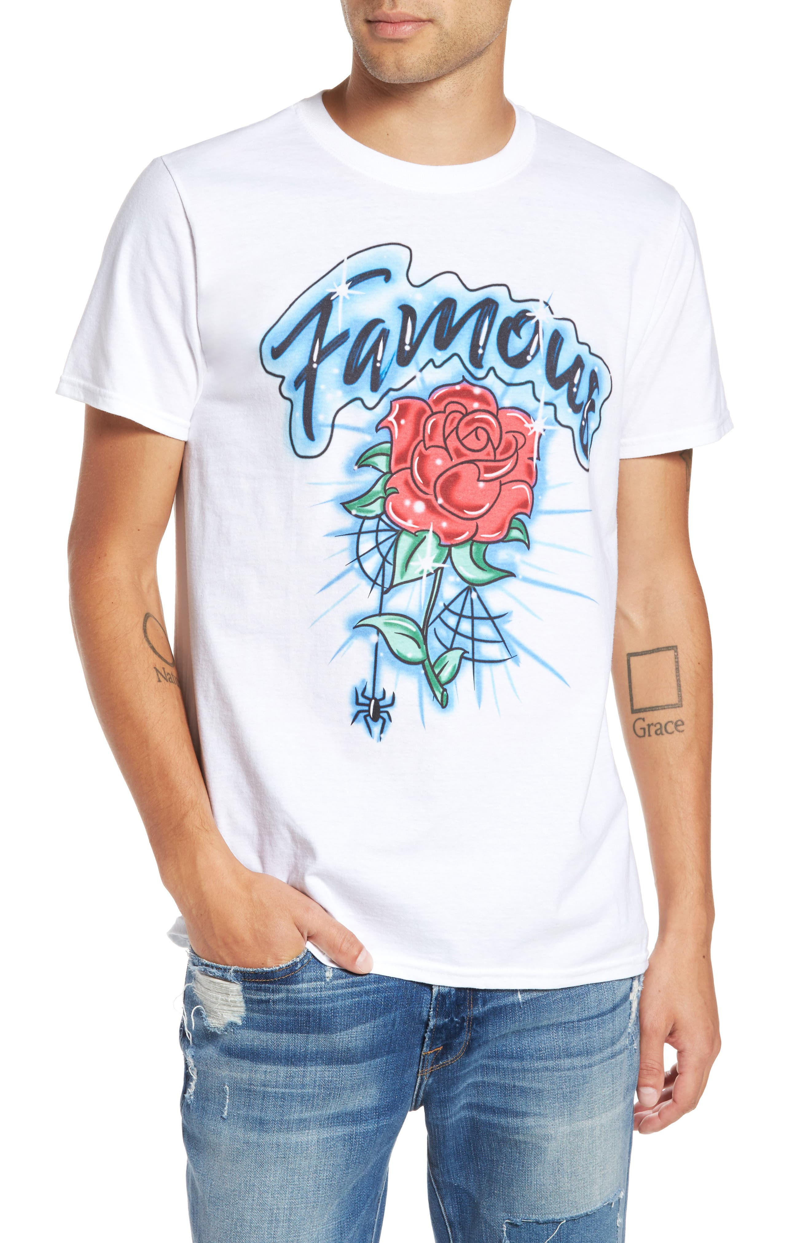 Famous Rose Graphic T-Shirt,                         Main,                         color, White Rose Airbrush