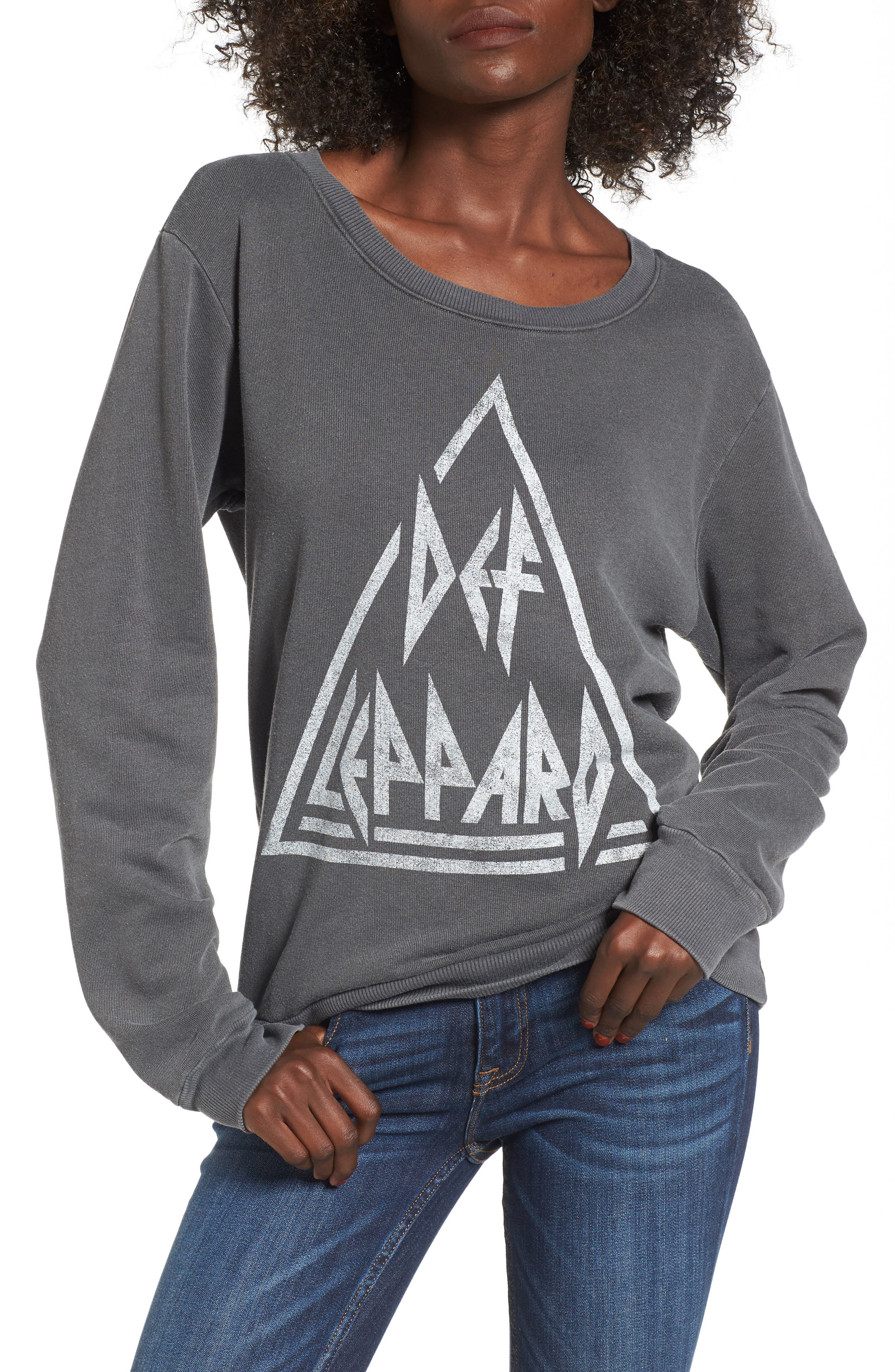 Def Leppard Sweatshirt,                             Main thumbnail 1, color,                             Faded Black