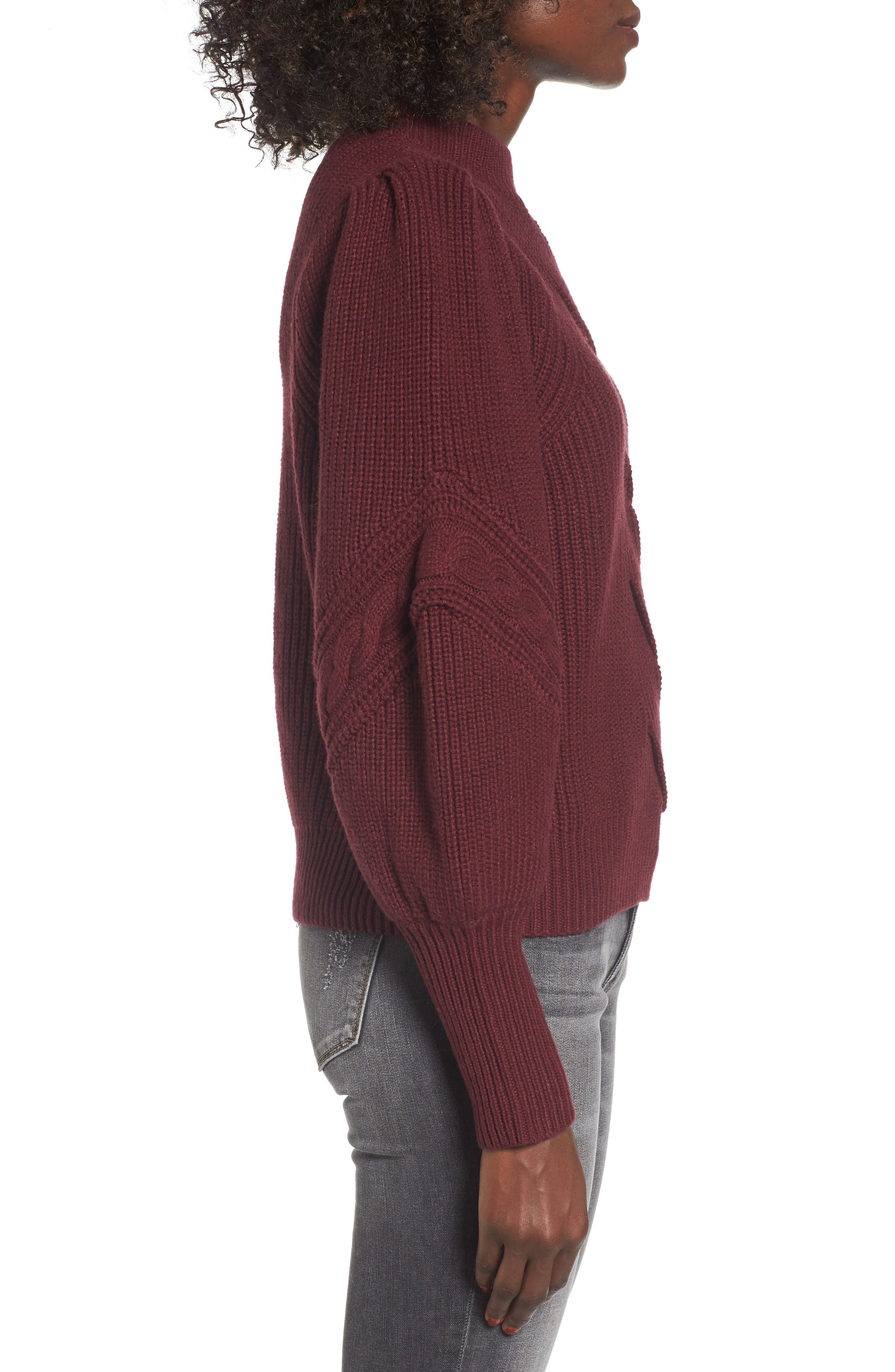 Cable Knit Puff Sleeve Sweater,                             Alternate thumbnail 3, color,                             Burgundy Royale