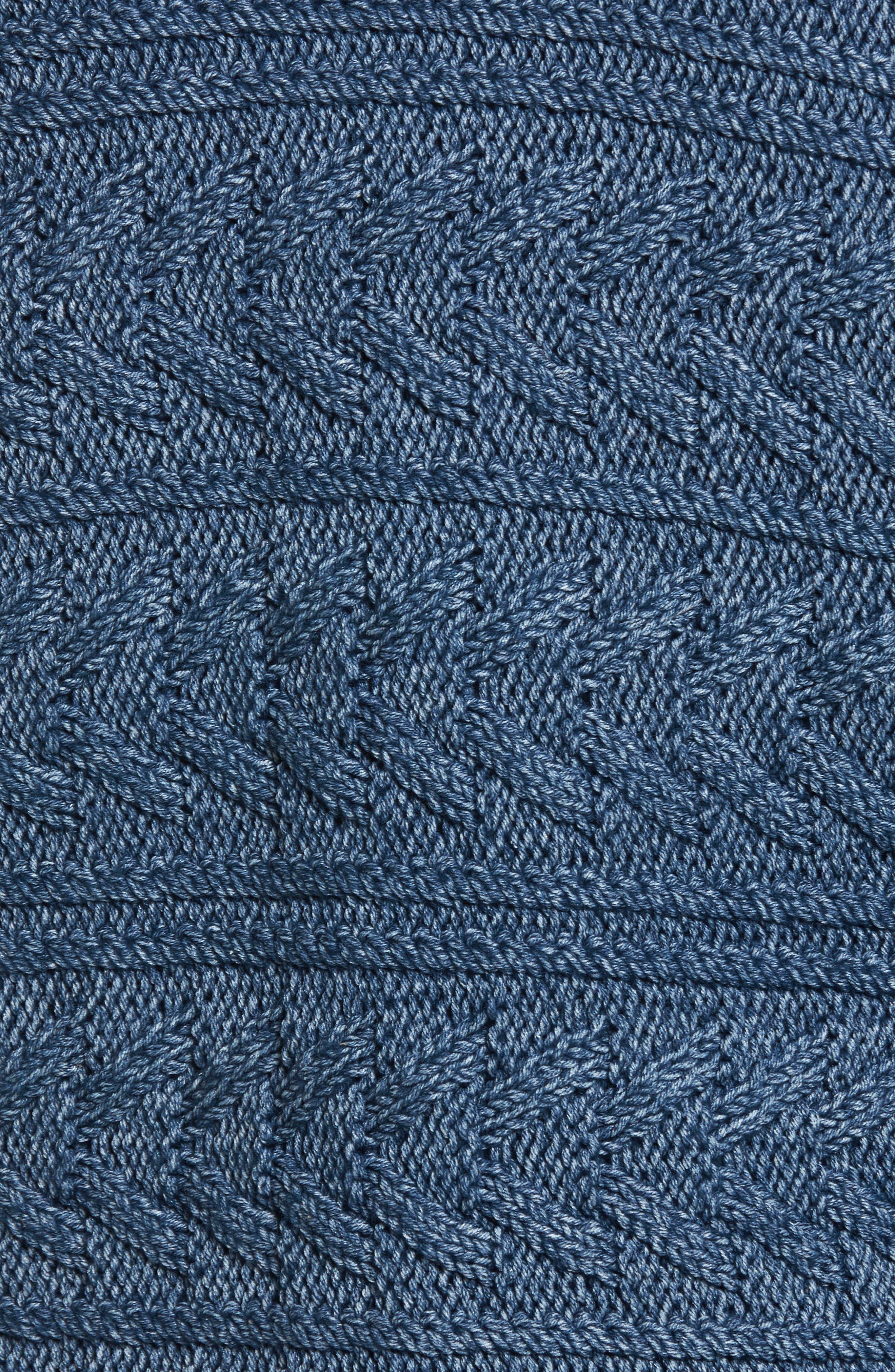 The Cable Fringe Sweater,                             Alternate thumbnail 5, color,                             Indigo