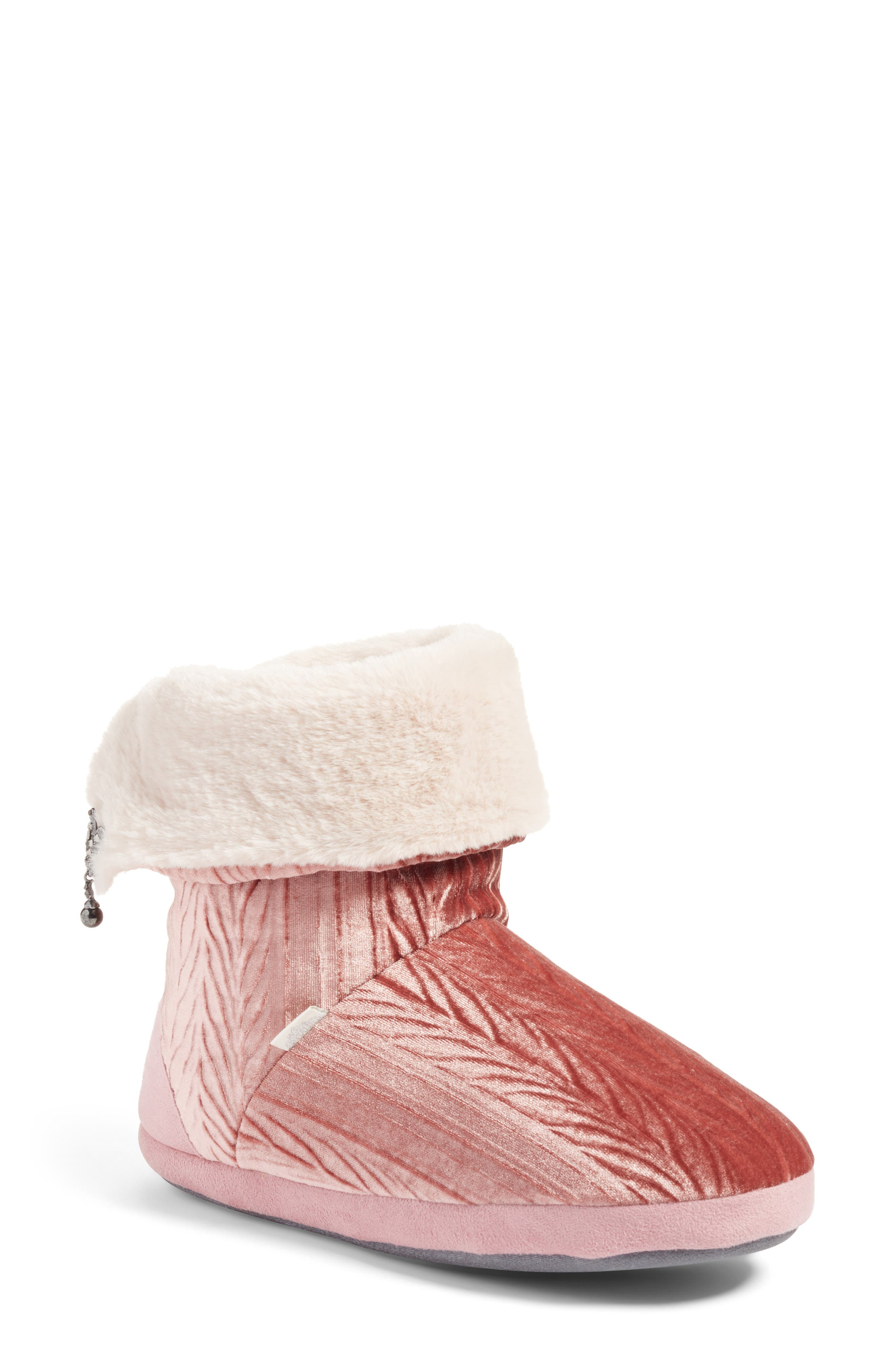Velvet Bootie Slipper,                         Main,                         color, Pink