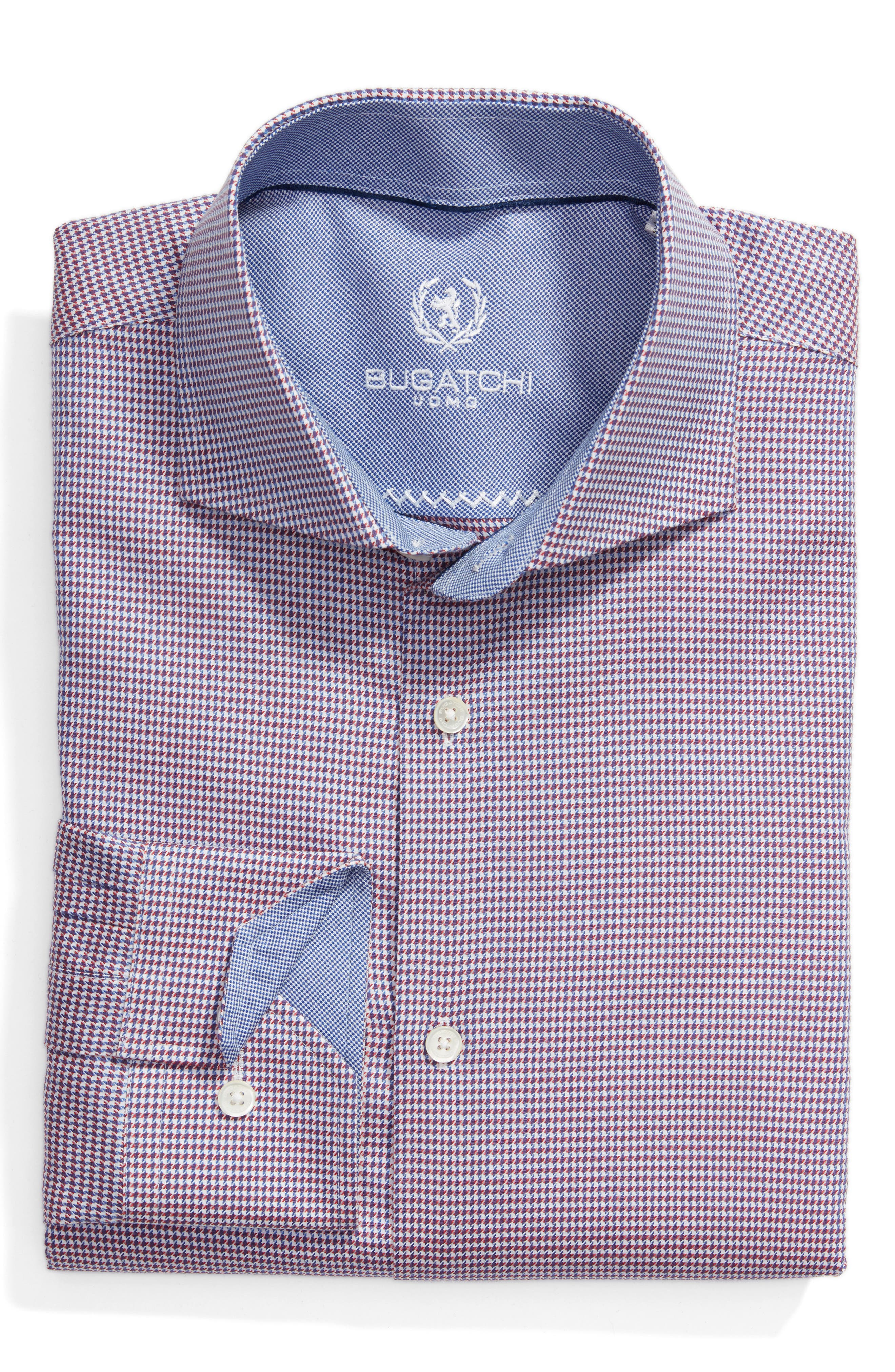 Trim Fit Houndstooth Dress Shirt,                         Main,                         color, Ruby