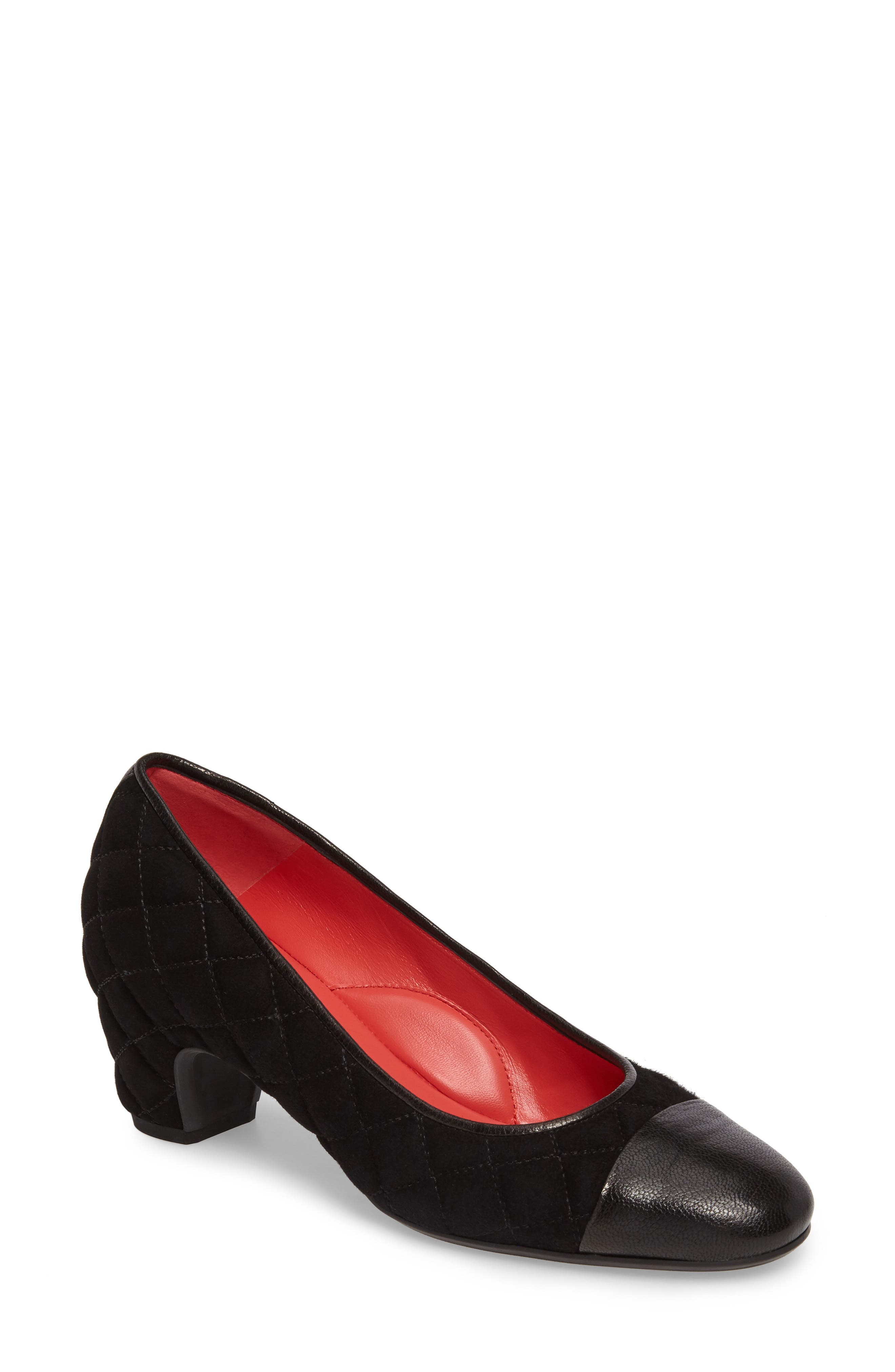 Quilted Cap Toe Pump,                             Main thumbnail 1, color,                             Black Suede/ Black Leather