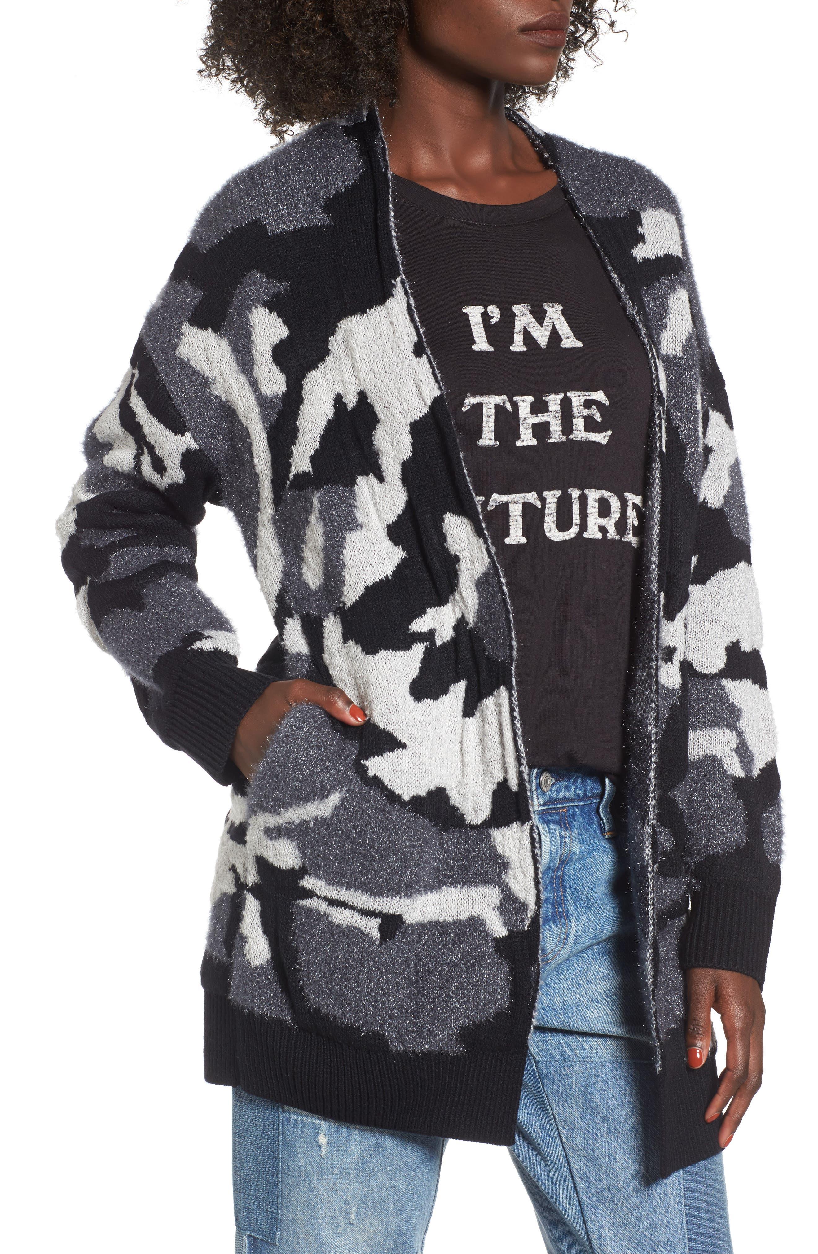 Camouflage Knit Cardigan,                         Main,                         color, Black Camo Jacquard