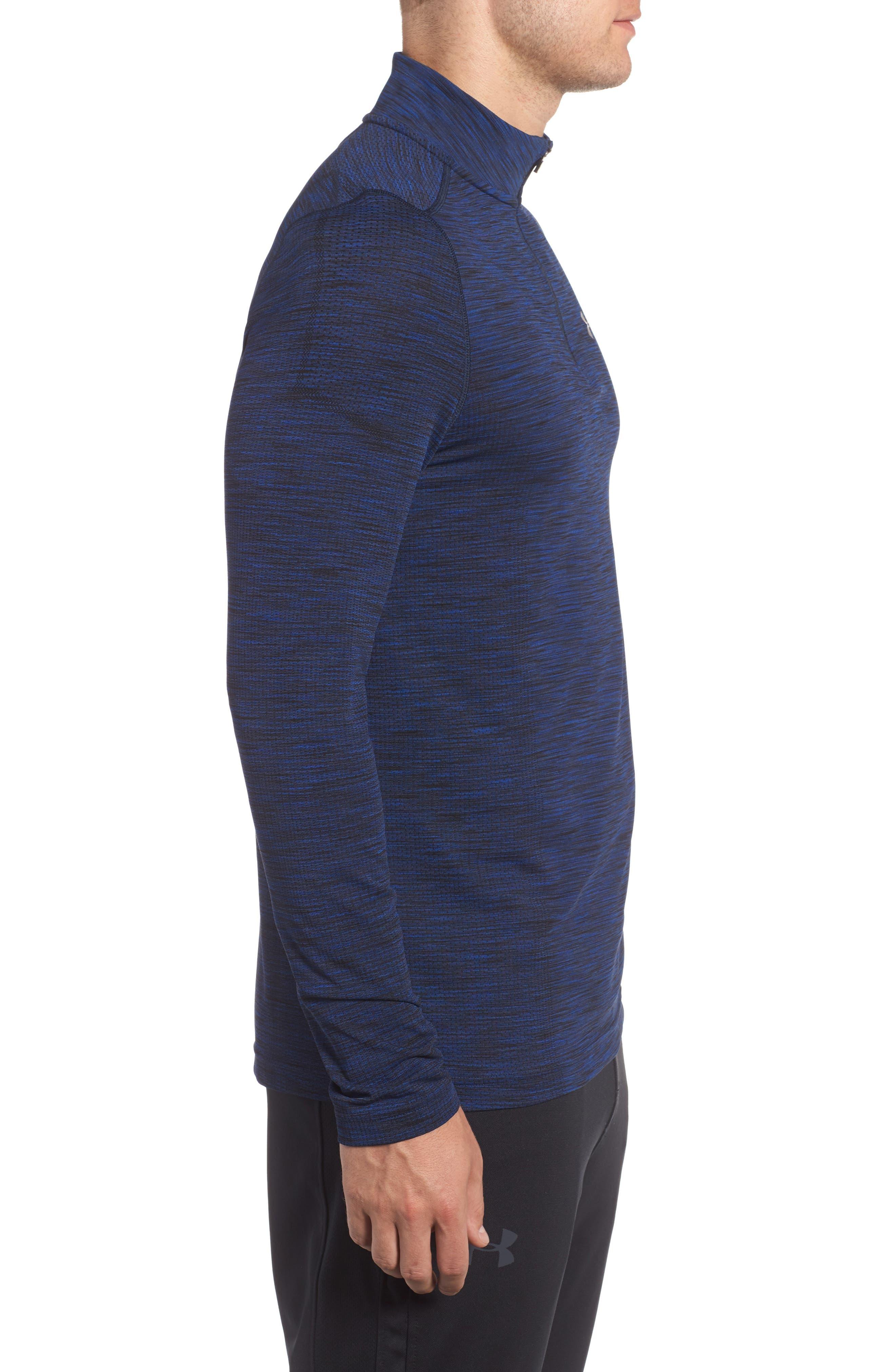 Threadborne Seamless Quarter Zip Pullover,                             Alternate thumbnail 3, color,                             Blue
