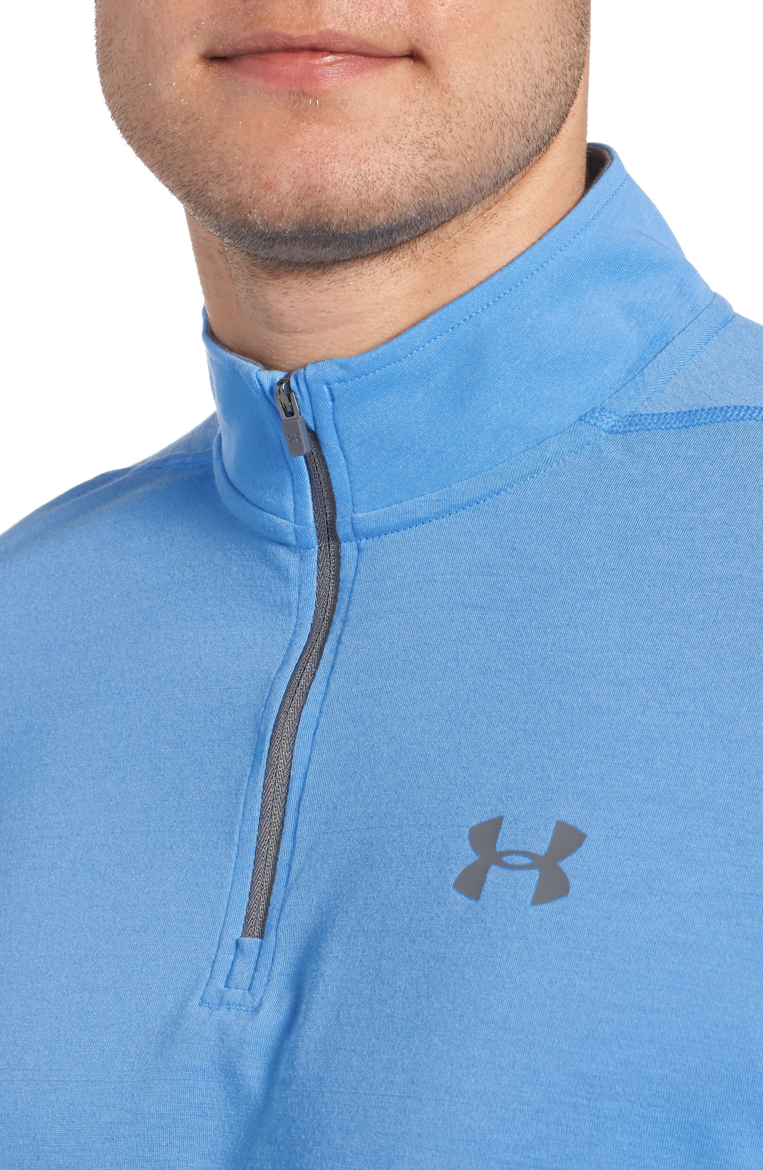 Threadborne Quarter-Zip Performance Shirt,                             Alternate thumbnail 4, color,                             Mako Blue / Graphite