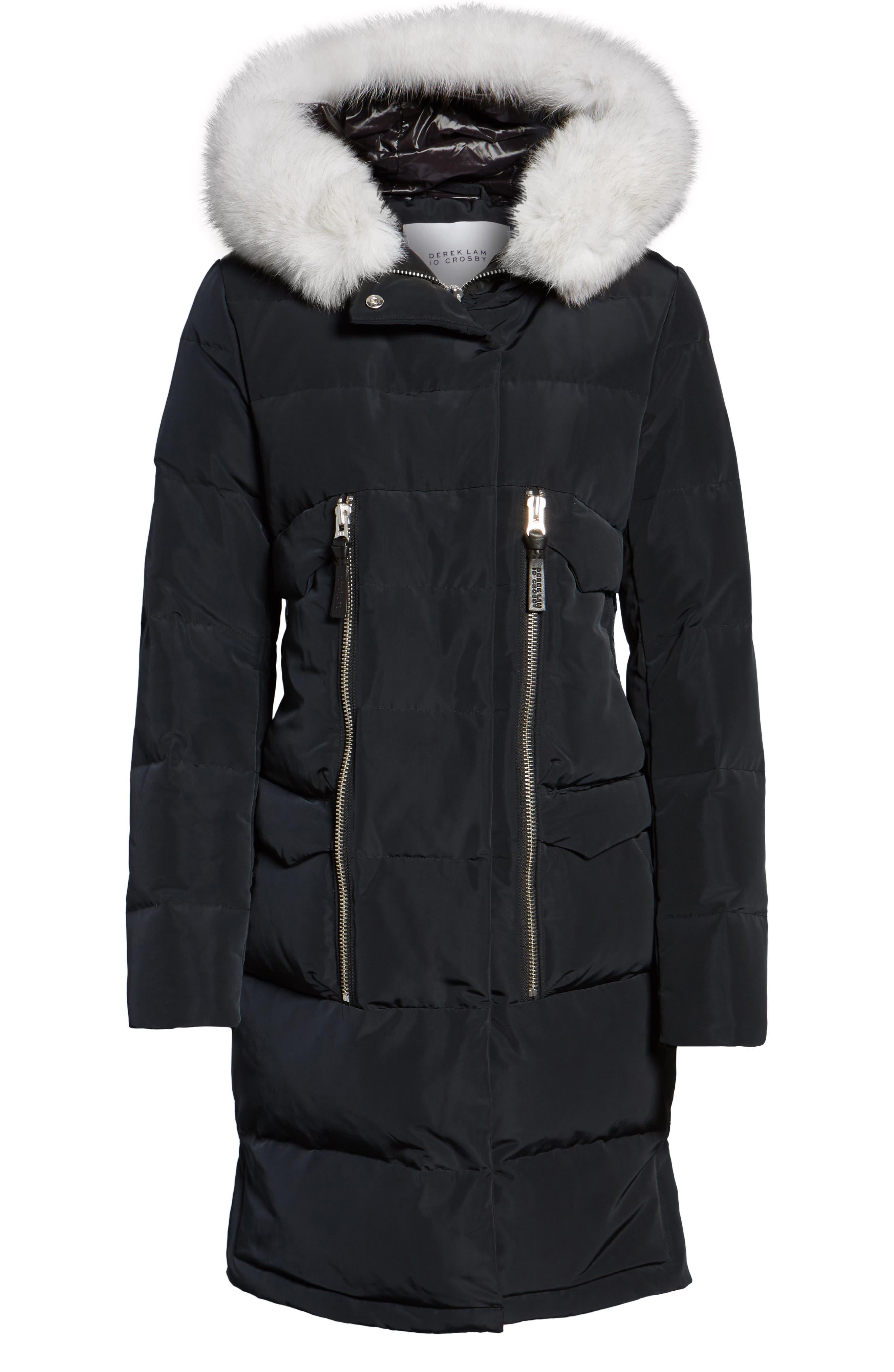 Genuine Fox Fur Trim Down Coat,                             Alternate thumbnail 6, color,                             Black