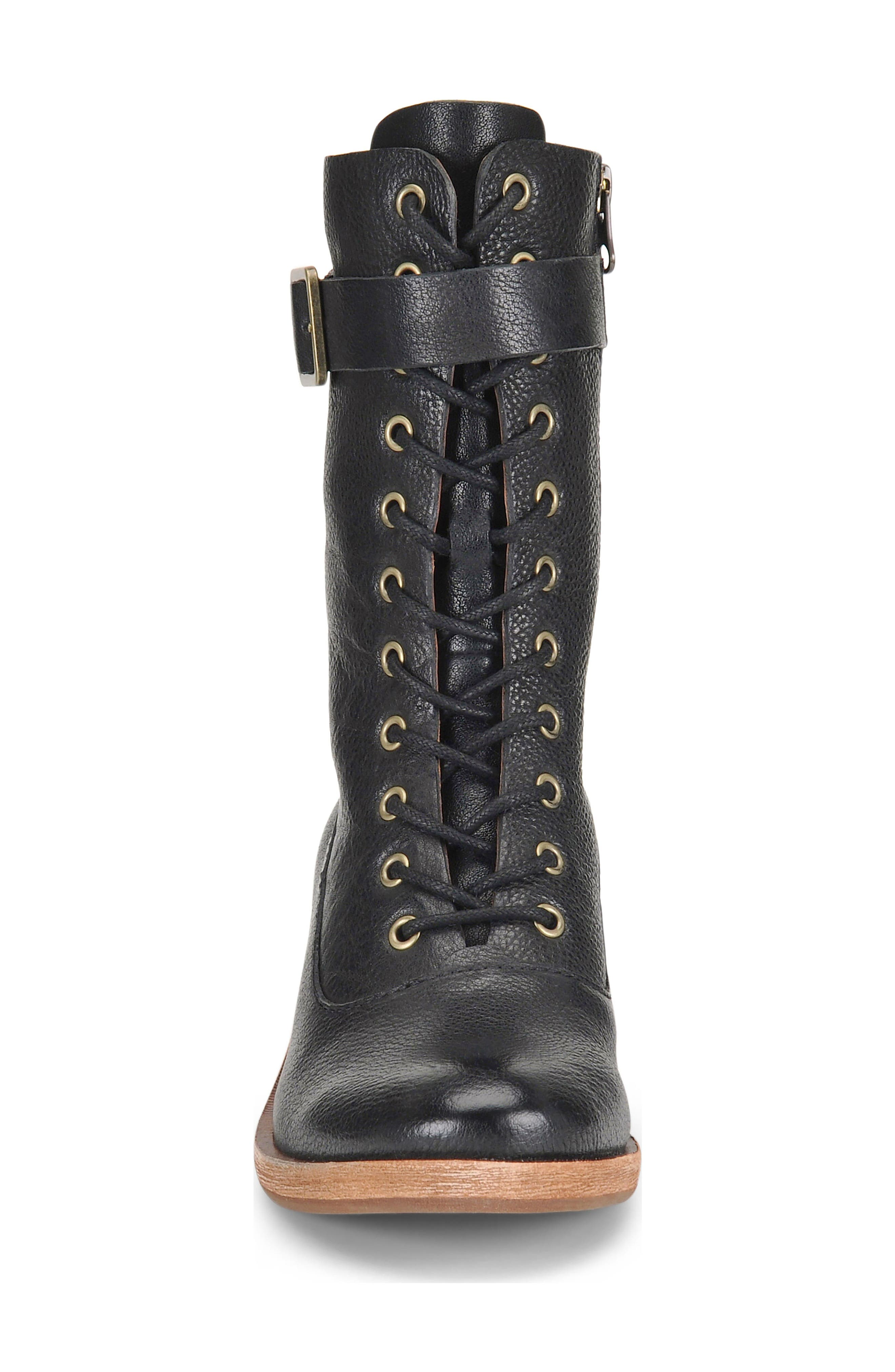 Mona Lace-Up Boot,                             Alternate thumbnail 4, color,                             Black Leather