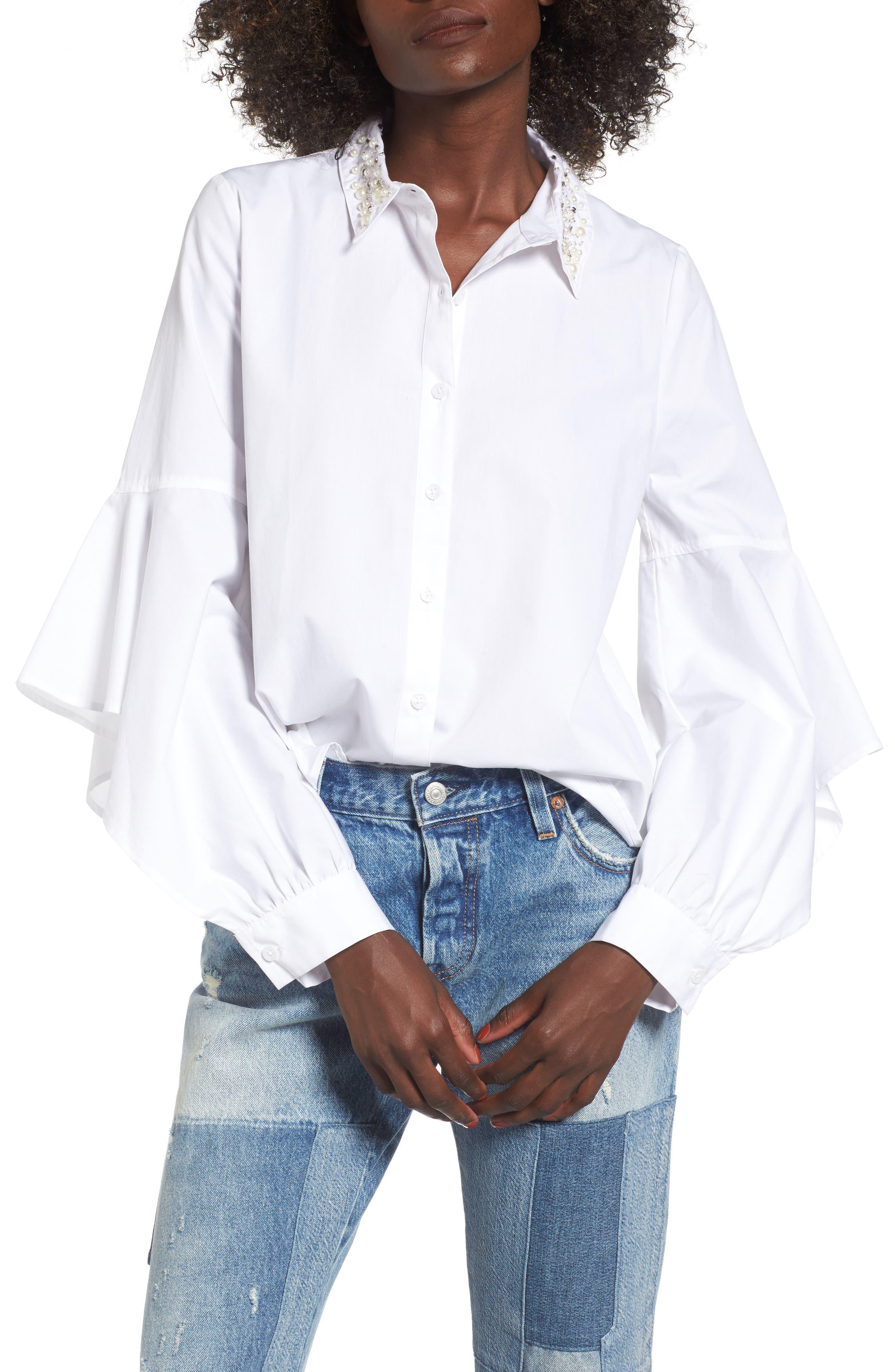 BP. Embellished Ruffle Sleeve Top