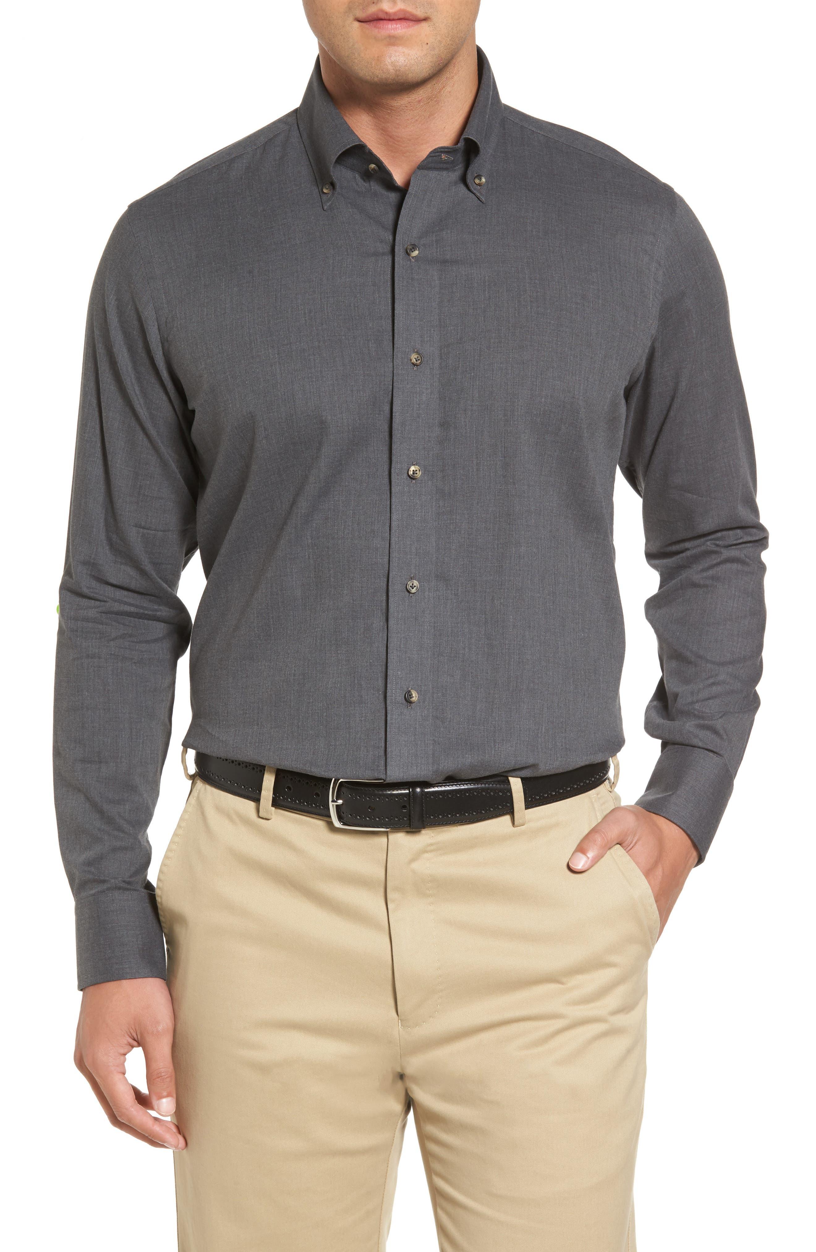 Peter Millar Regular Fit Mélange Herringbone Sport Shirt,                         Main,                         color, Dolomite Grey
