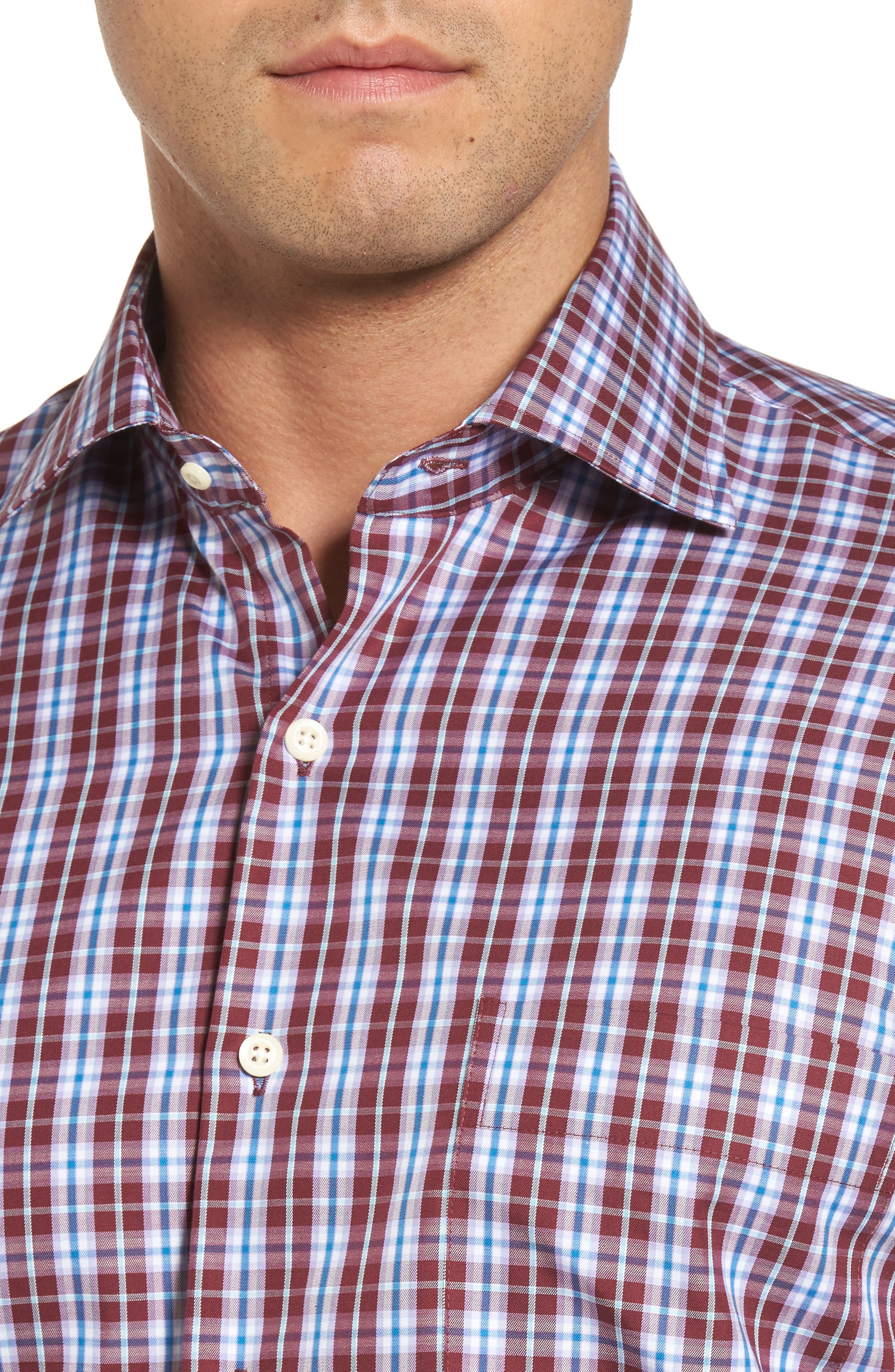 Mitchell Plaid Sport Shirt,                             Alternate thumbnail 4, color,                             French Wine