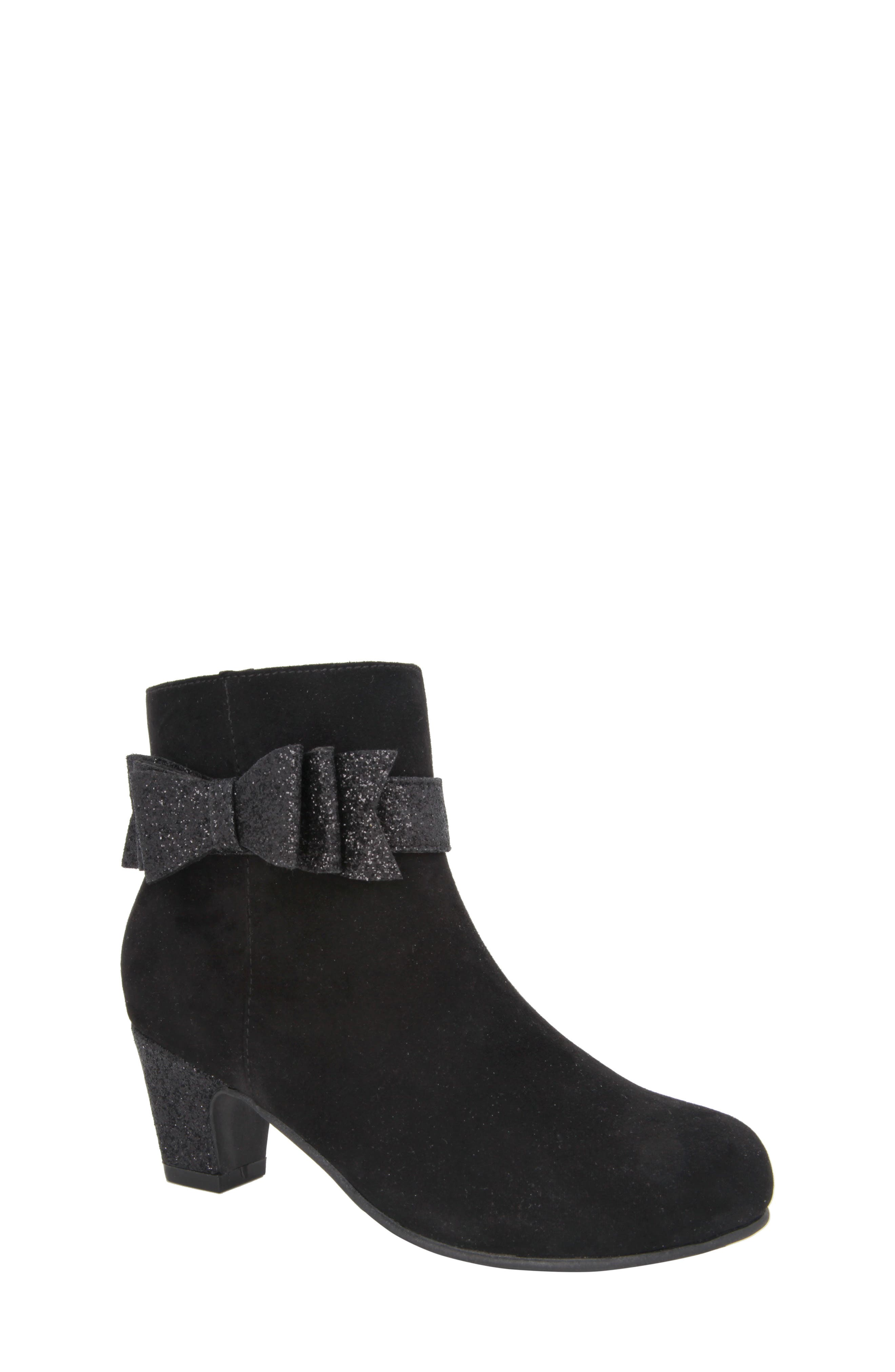 Glitter Bow Bootie,                             Main thumbnail 1, color,                             Black Suede/ Glitter