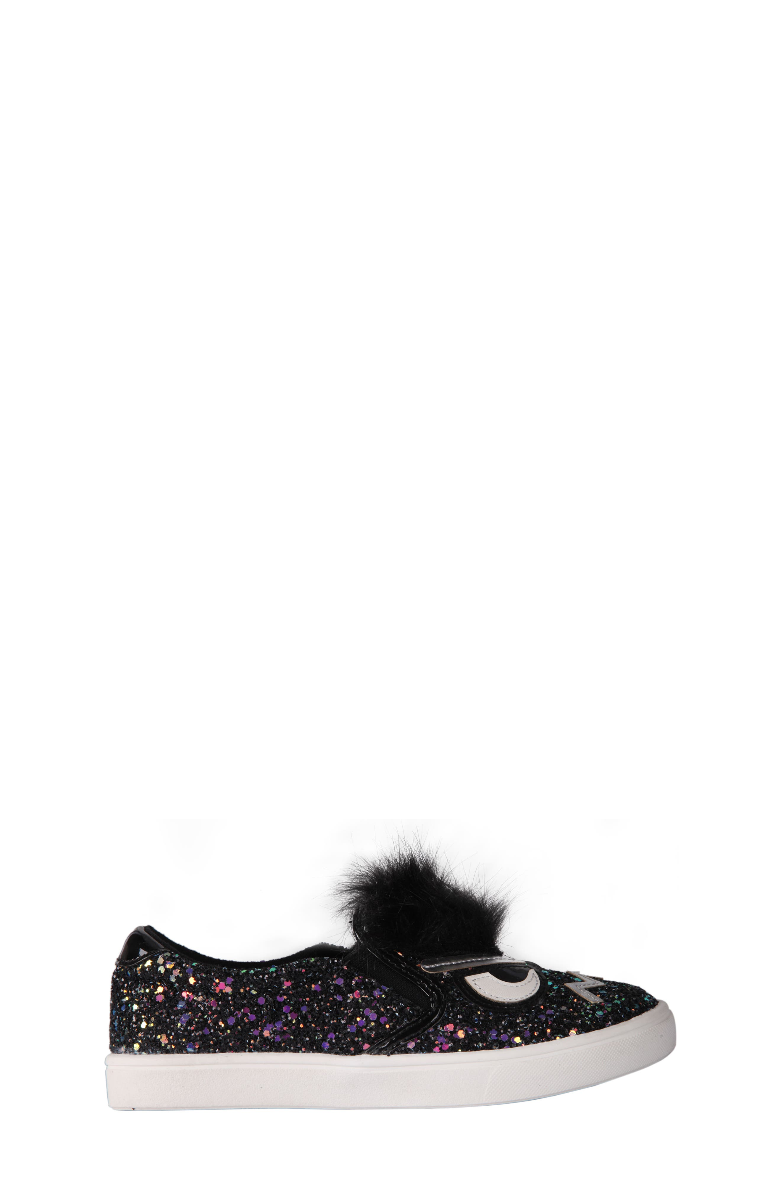 Alyx Faux Fur Glittery Slip-On Sneaker,                             Alternate thumbnail 3, color,                             Black Chunky Glitter
