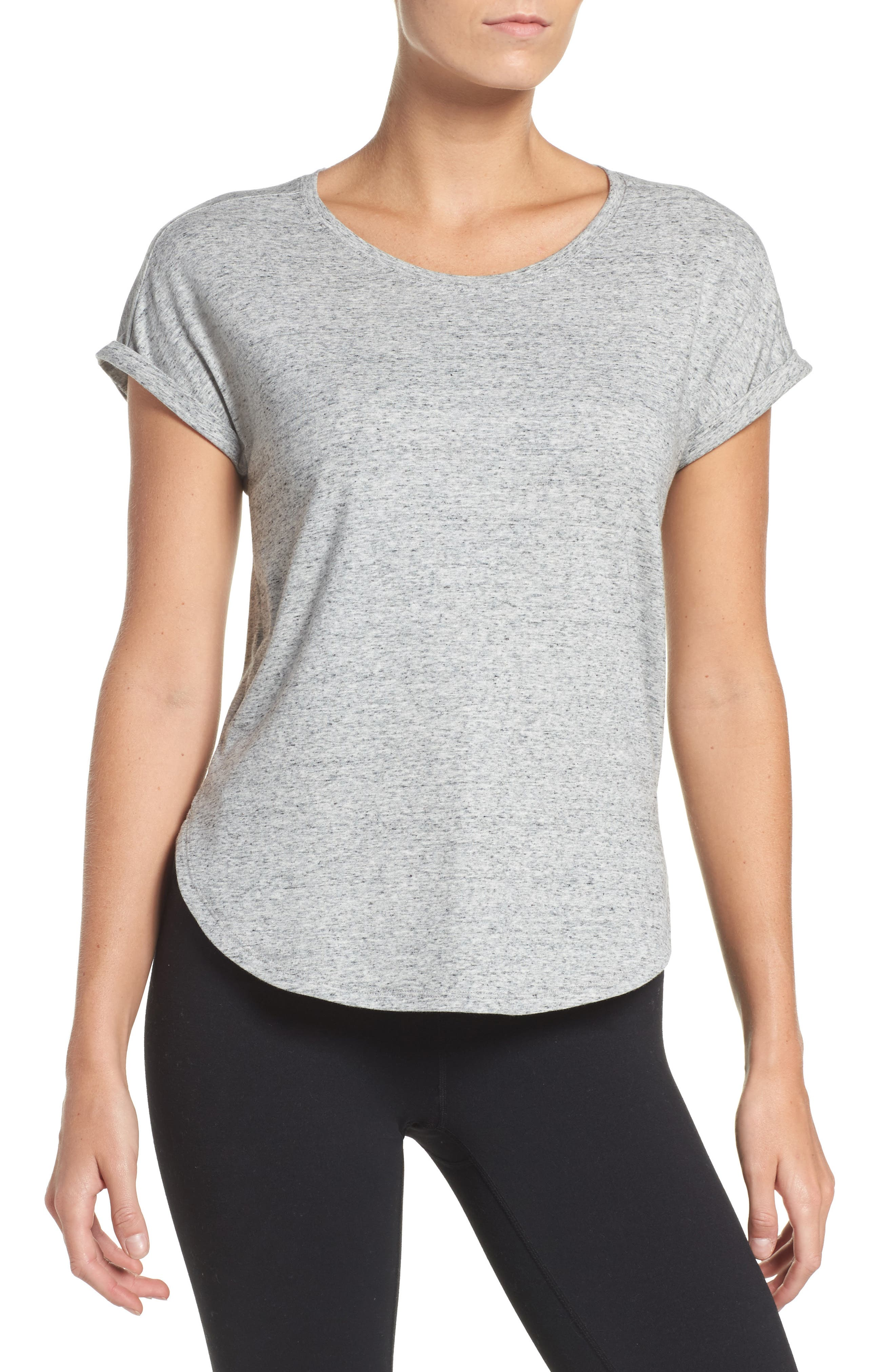 Performer High/Low Climalite<sup>®</sup> Tee,                         Main,                         color, Grey