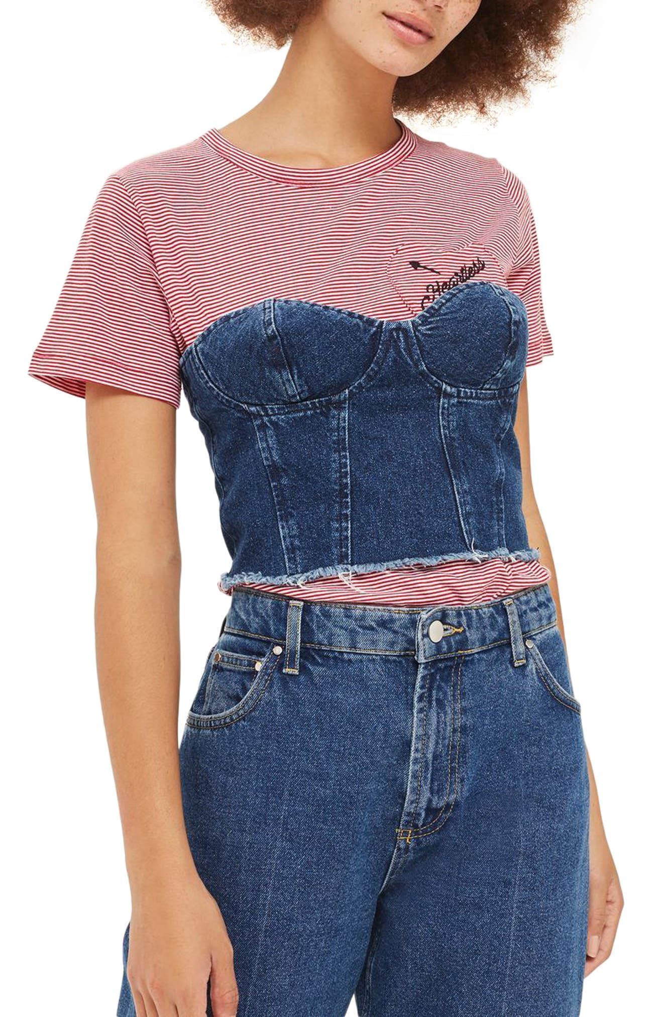 Denim Strapless Corset Top,                         Main,                         color, Indigo