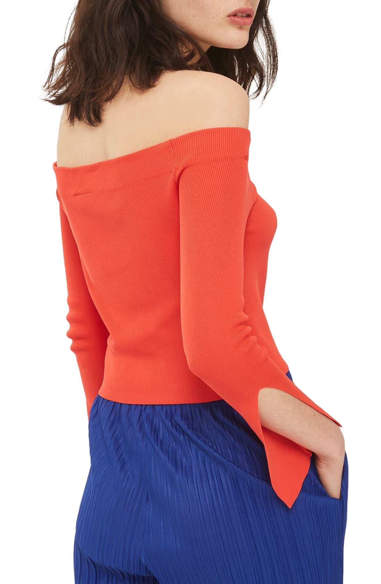 Slit Cuff Off the Shoulder Top,                             Alternate thumbnail 2, color,                             Red