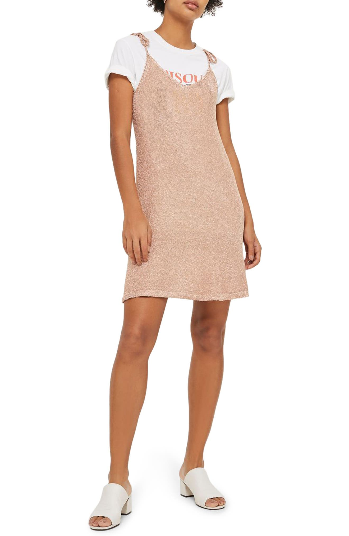 Main Image - Topshop Metallic Knit Slipdress