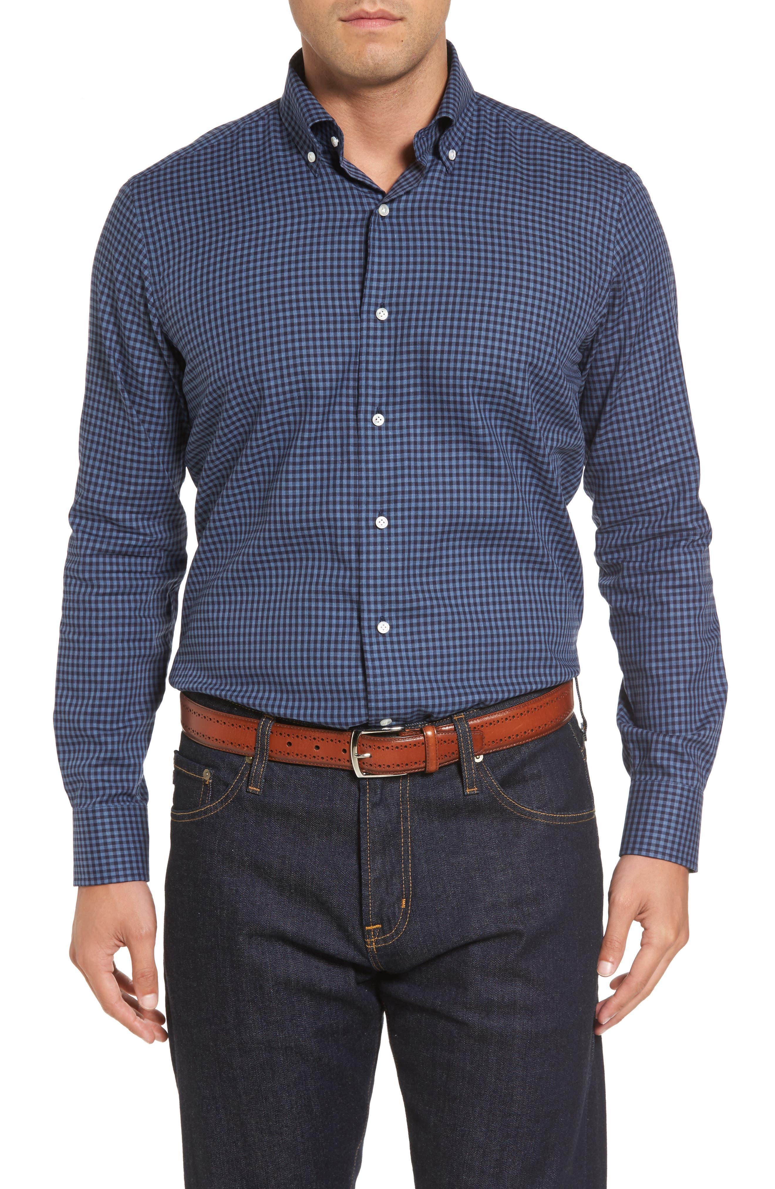Peter Millar Caledonia Regular Fit Check Sport Shirt,                         Main,                         color, Blue