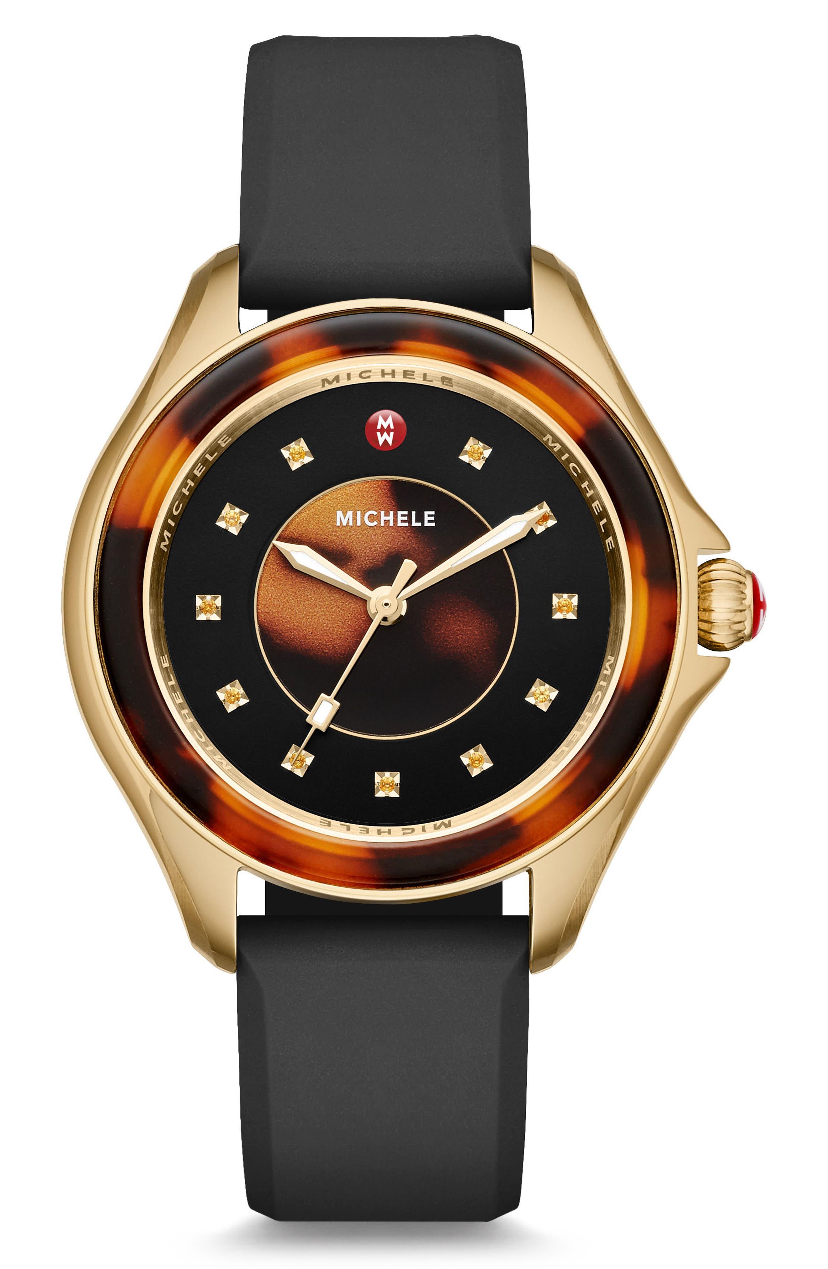 Main Image - MICHELE Cape Jewel Head & Silicone Strap Watch, 40mm
