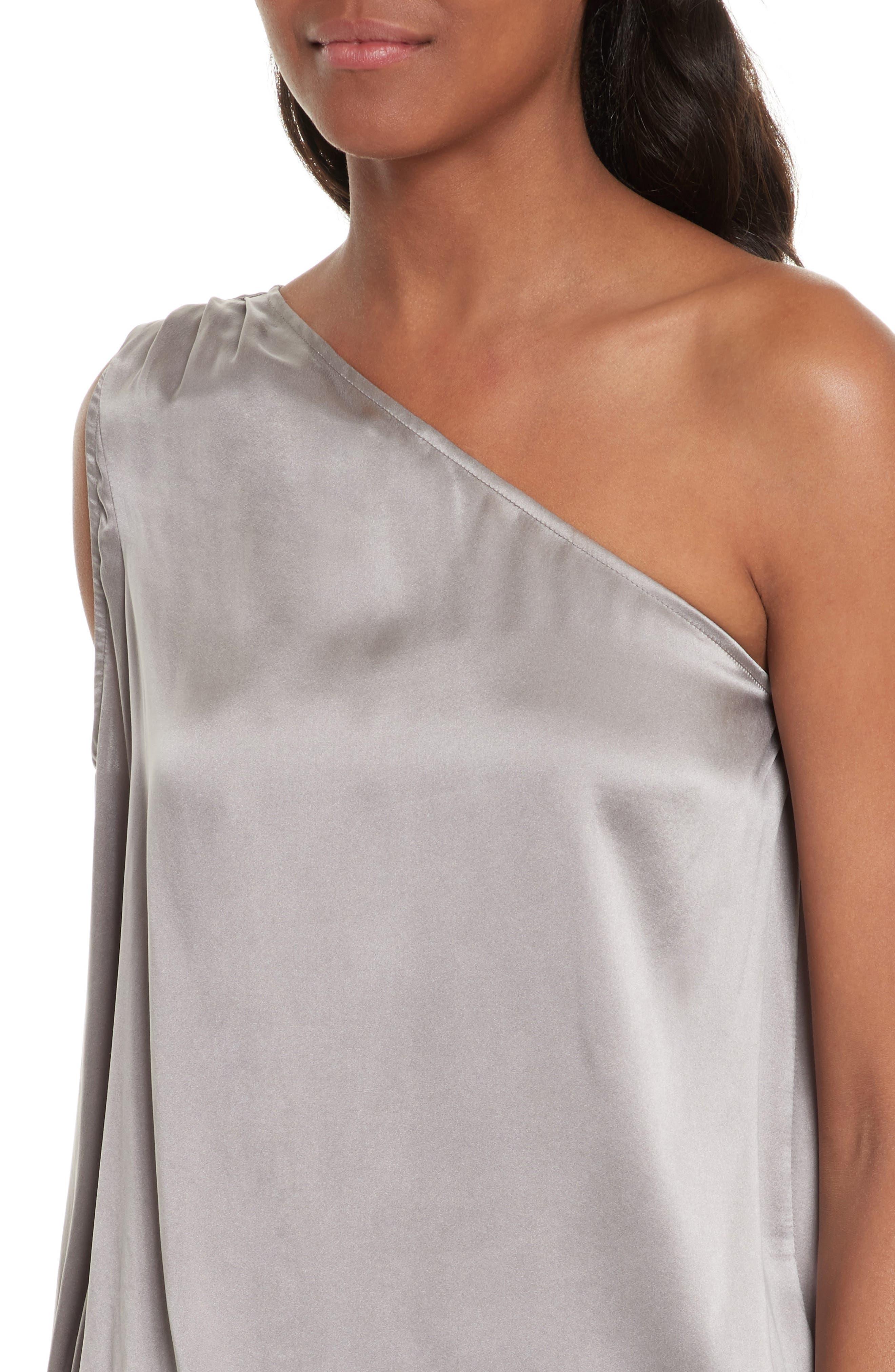 Abatha One-Shoulder Silk Top,                             Alternate thumbnail 4, color,                             Vintage Silver