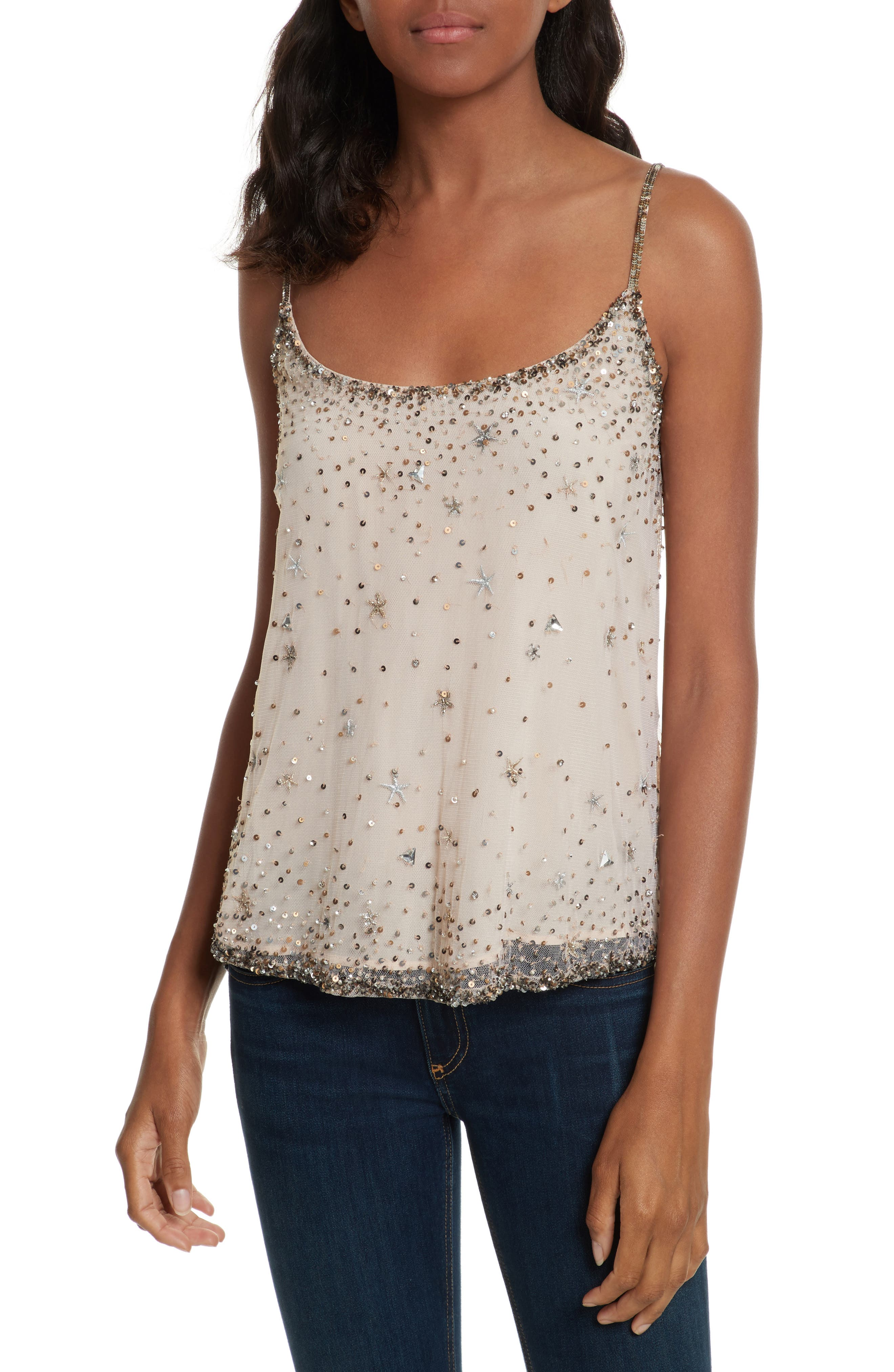 Garlen Beaded Camisole,                         Main,                         color, Champagne