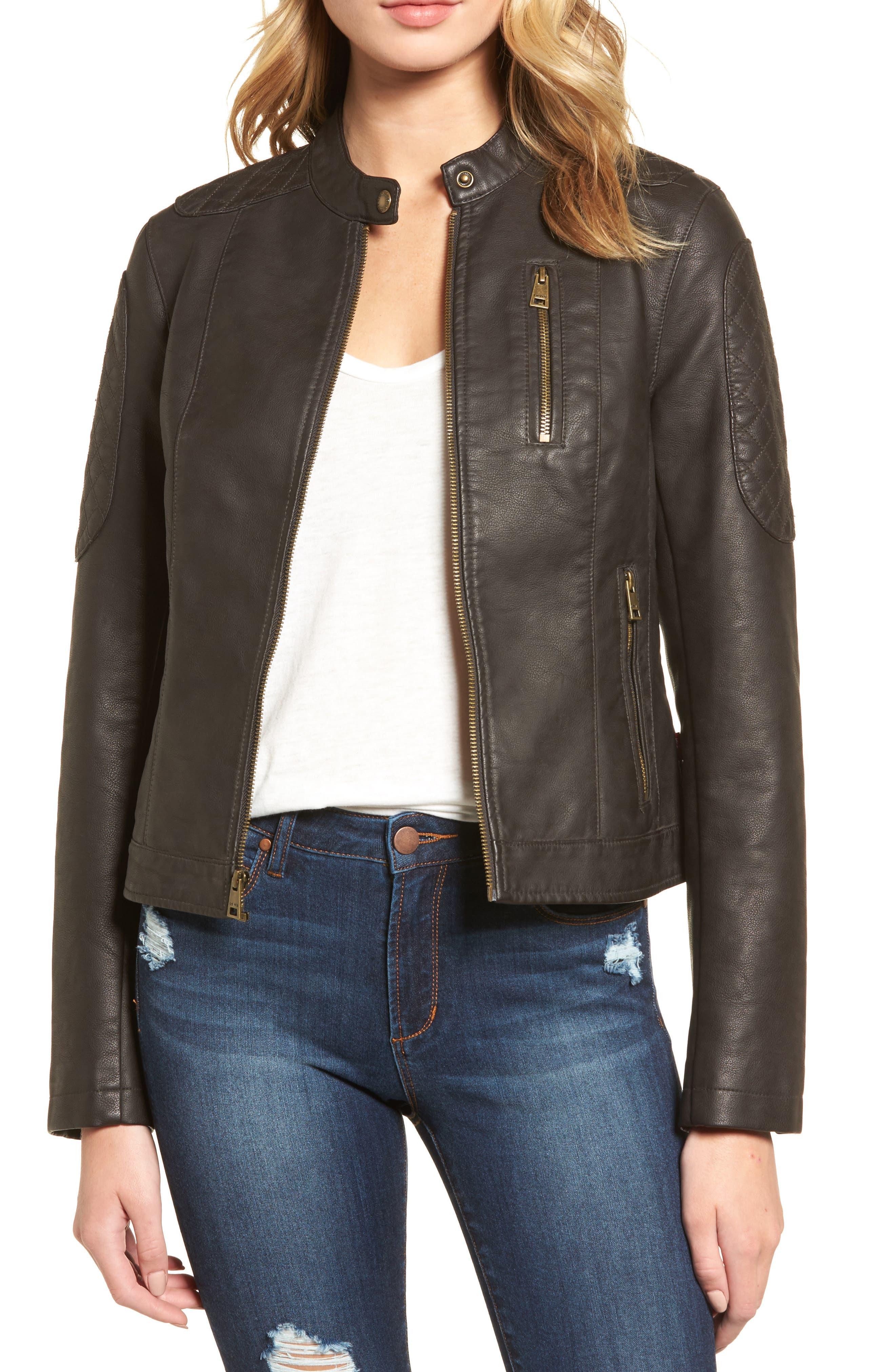 LEVIS<sup>®</sup> Faux Leather Moto Jacket,                             Main thumbnail 1, color,                             Brown