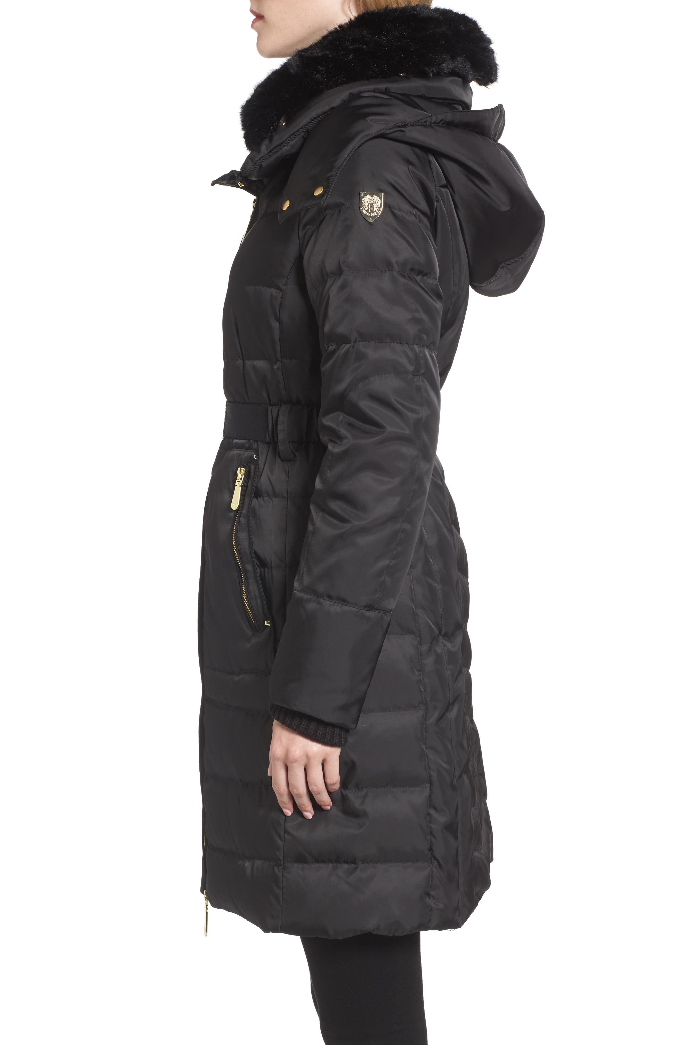 Belted Coat with Detachable Faux Fur,                             Alternate thumbnail 3, color,                             Black
