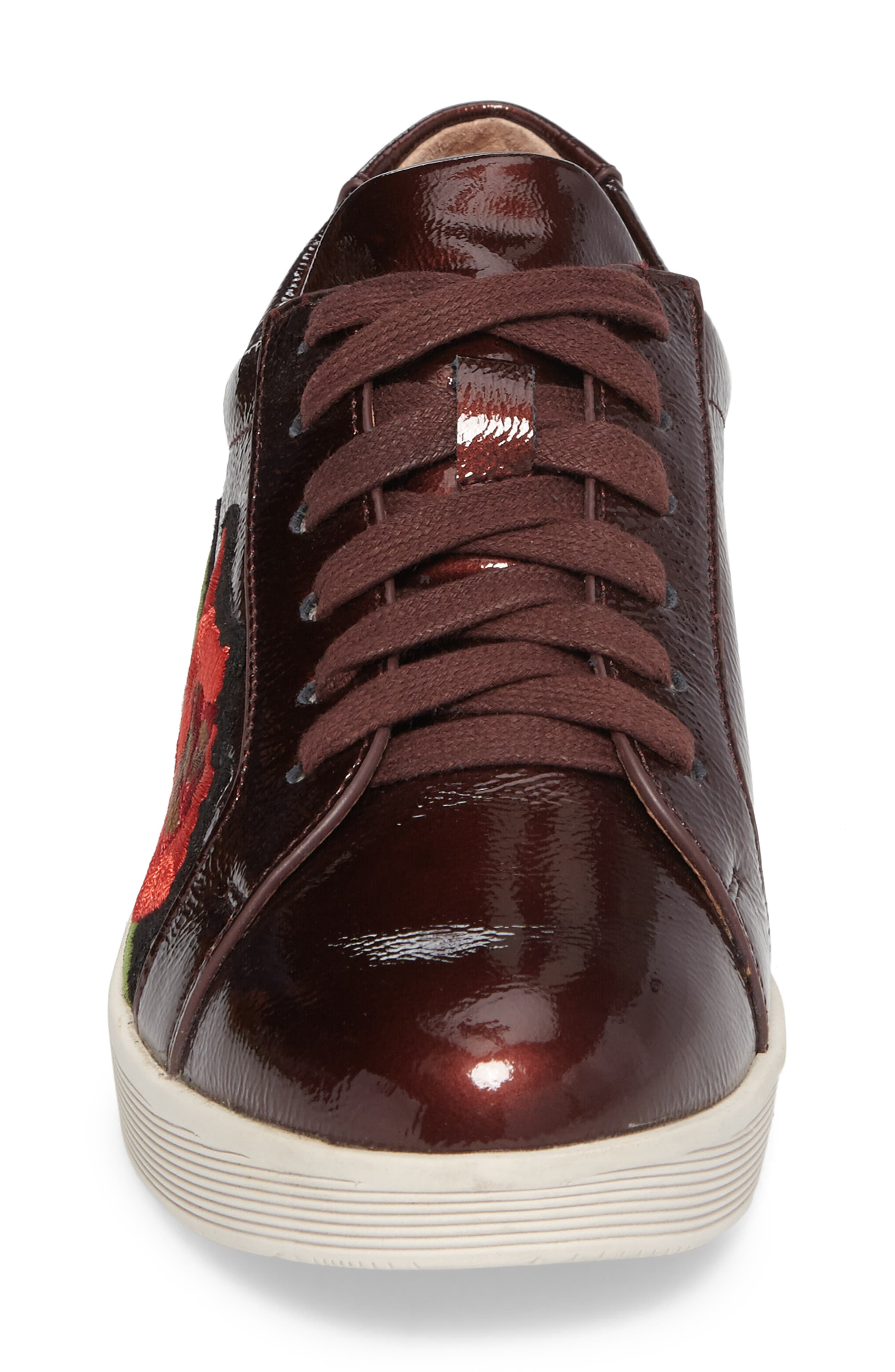 Gentle Soles Haddie Rose Sneaker,                             Alternate thumbnail 4, color,                             Wine Patent Leather