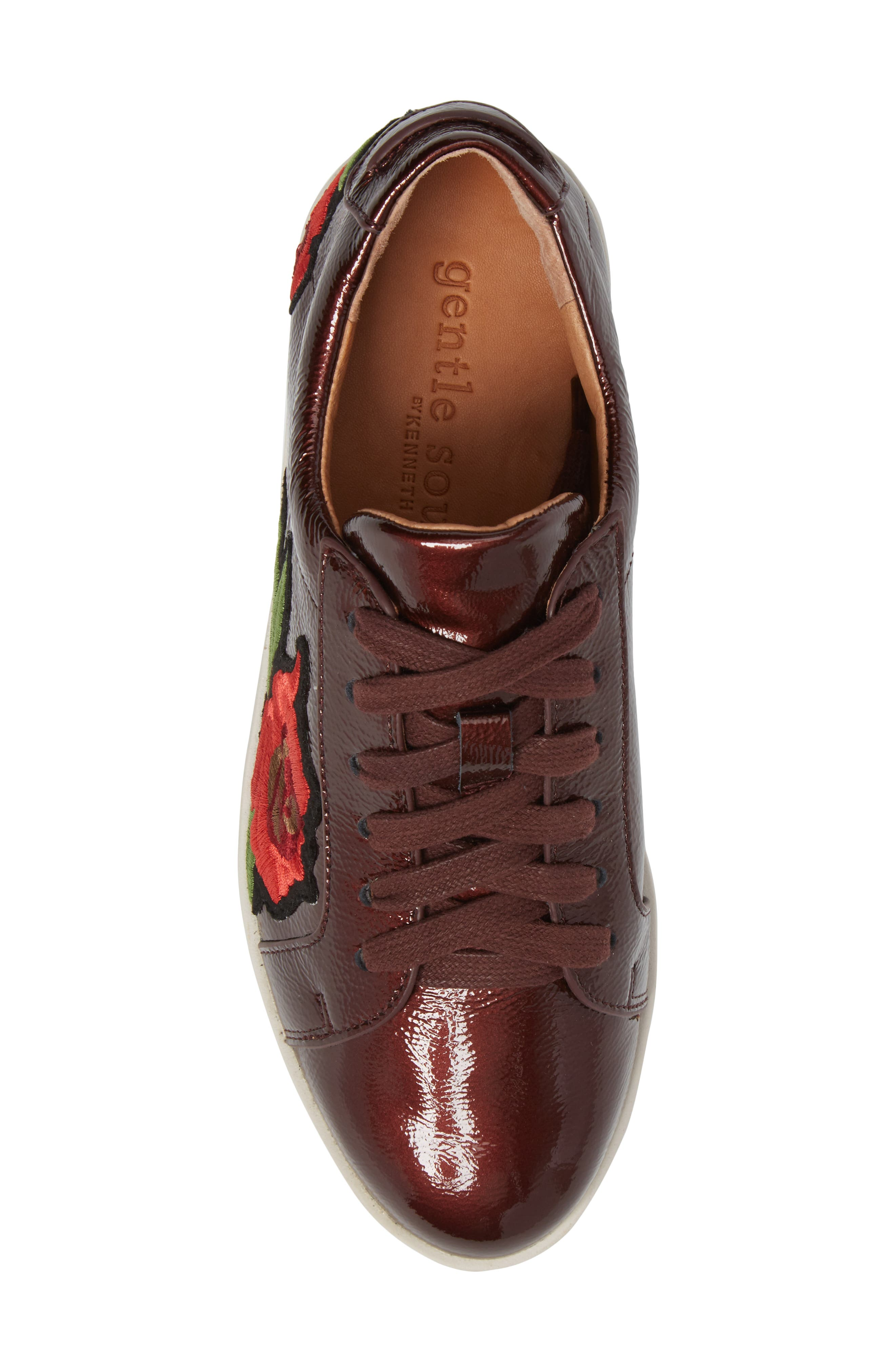 Gentle Soles Haddie Rose Sneaker,                             Alternate thumbnail 5, color,                             Wine Patent Leather