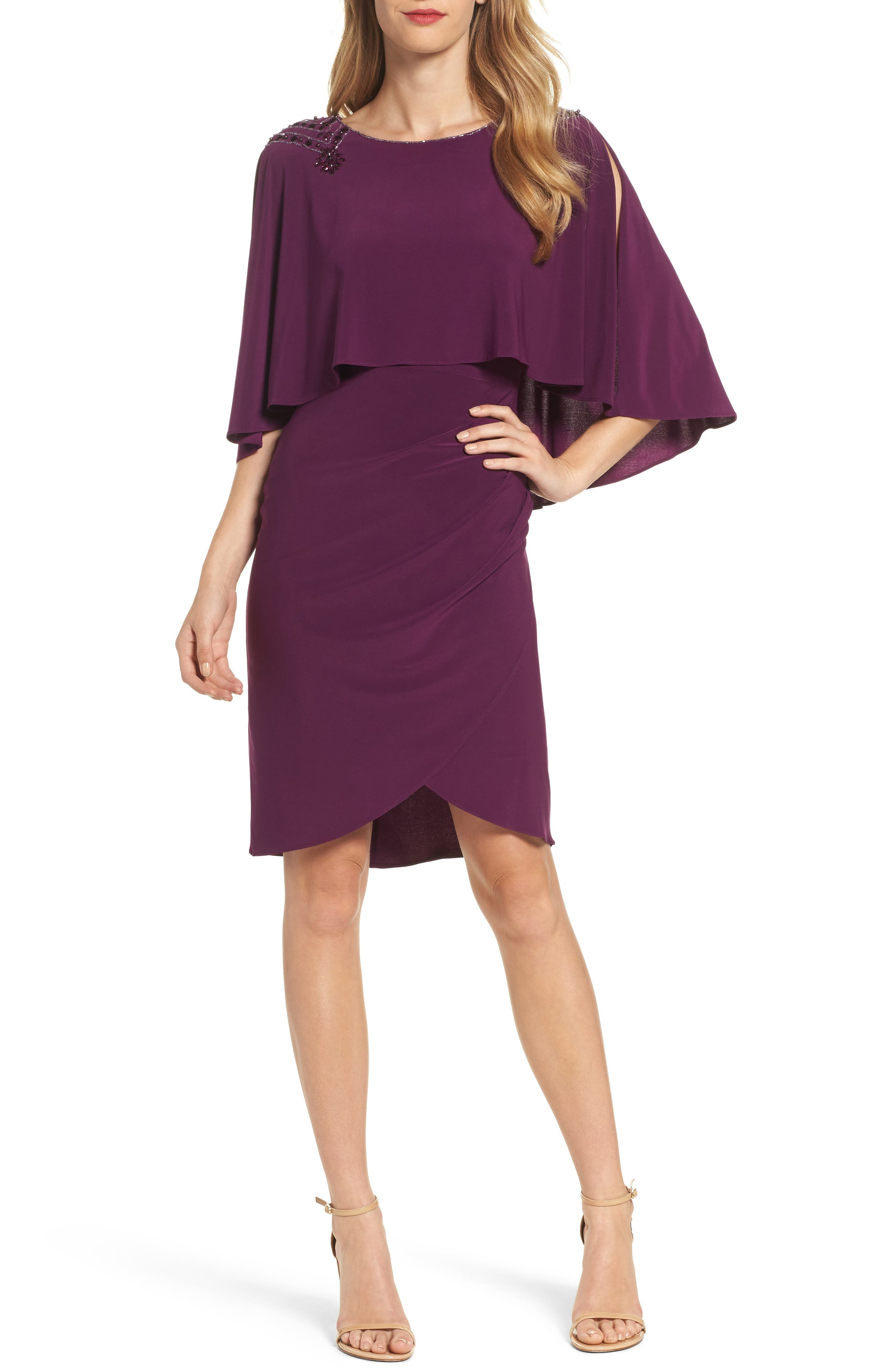 Adrianna Papell Embellished Capelet Sheath