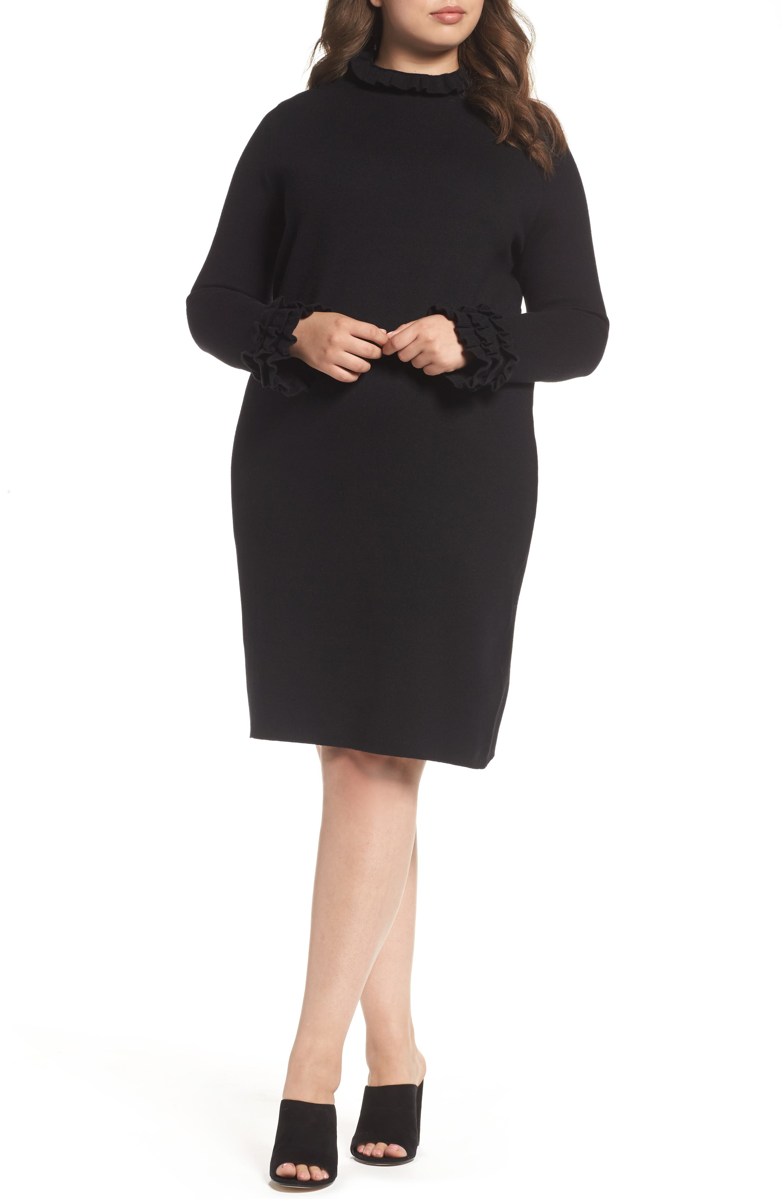 Ruffle Sleeve Sweater Dress,                             Main thumbnail 1, color,                             Black