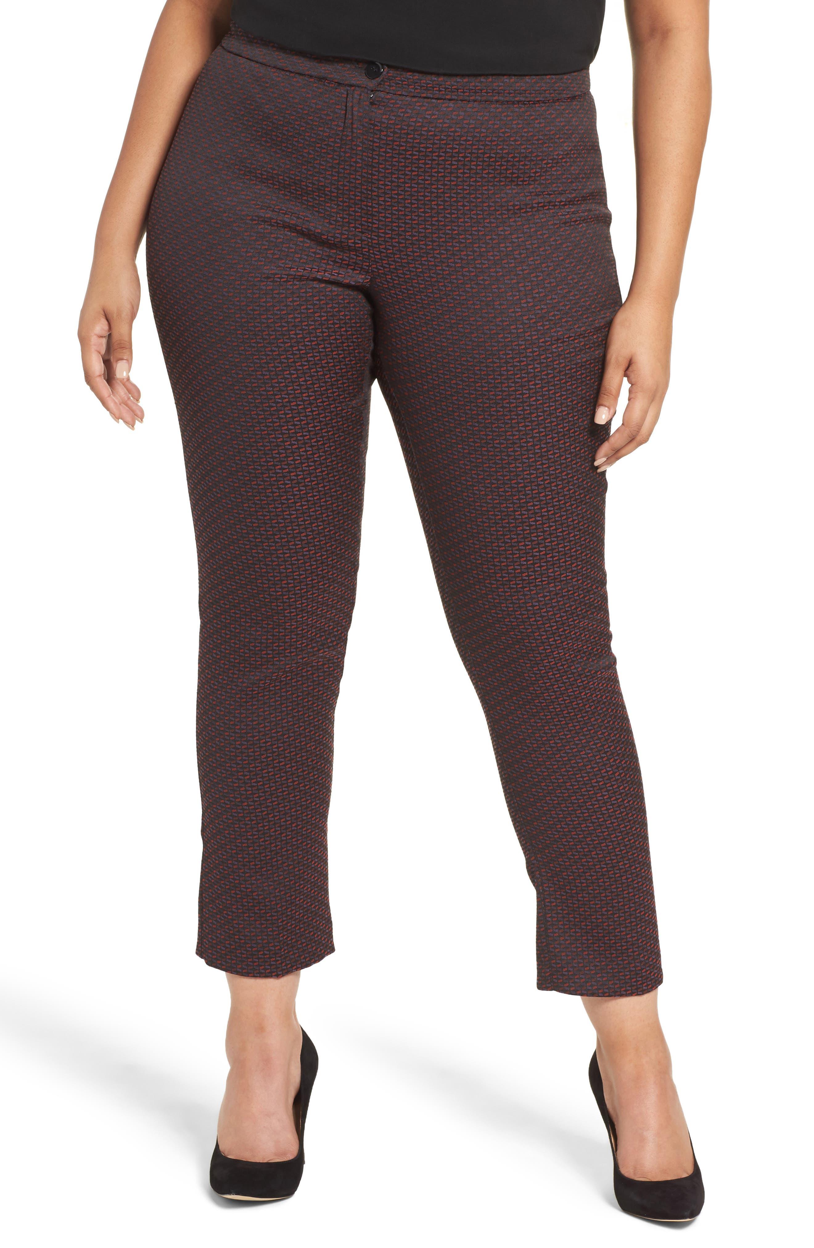Main Image - Persona by Marina Rinaldi Rombo Jacquard Slim Crop Trousers (Plus Size)