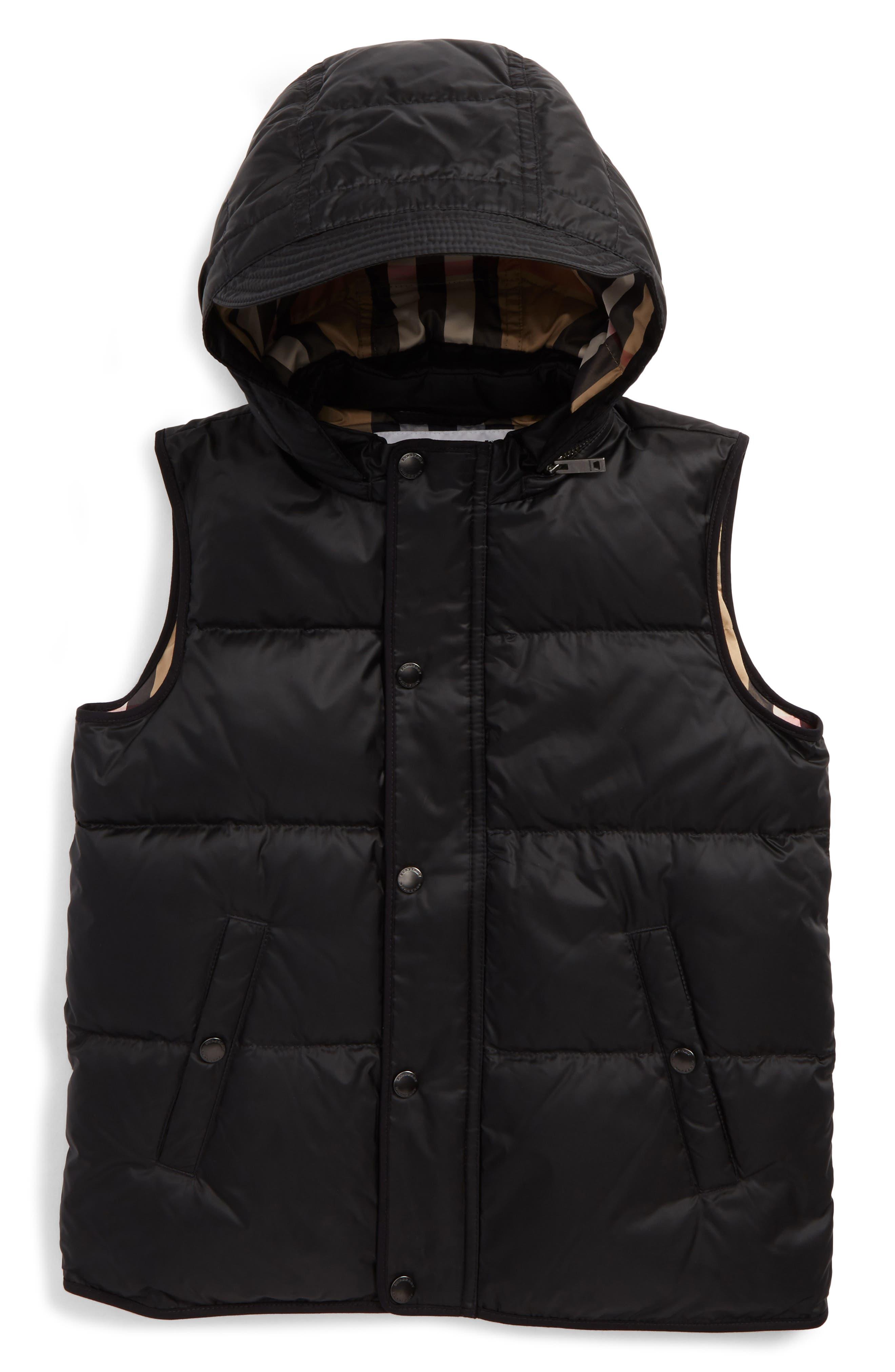 Mini Carlton Quilted Down Vest,                             Main thumbnail 1, color,                             Black