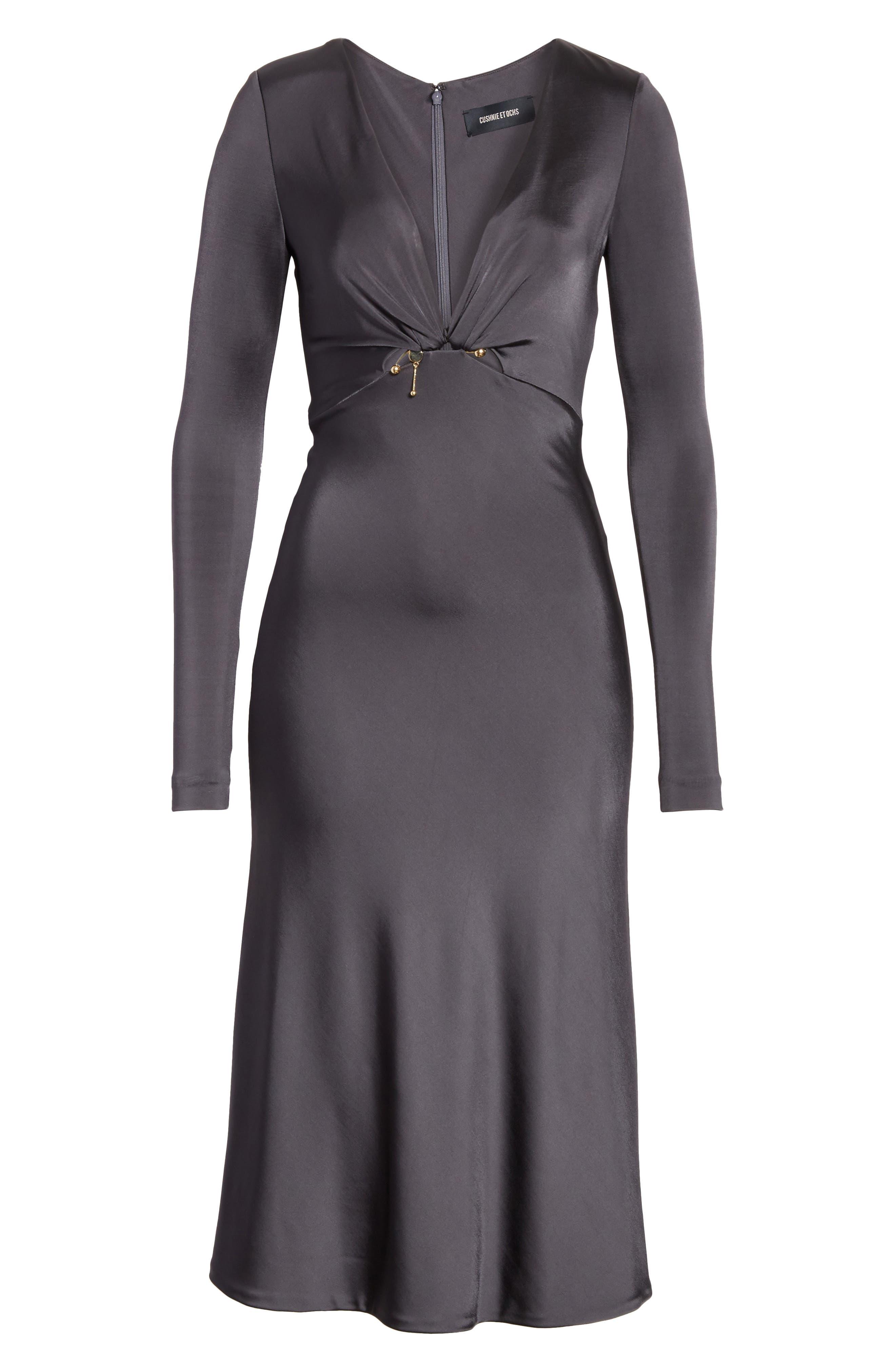 Magdelena Ring Detail Jersey Dress,                             Alternate thumbnail 7, color,                             Graphite/ Gold
